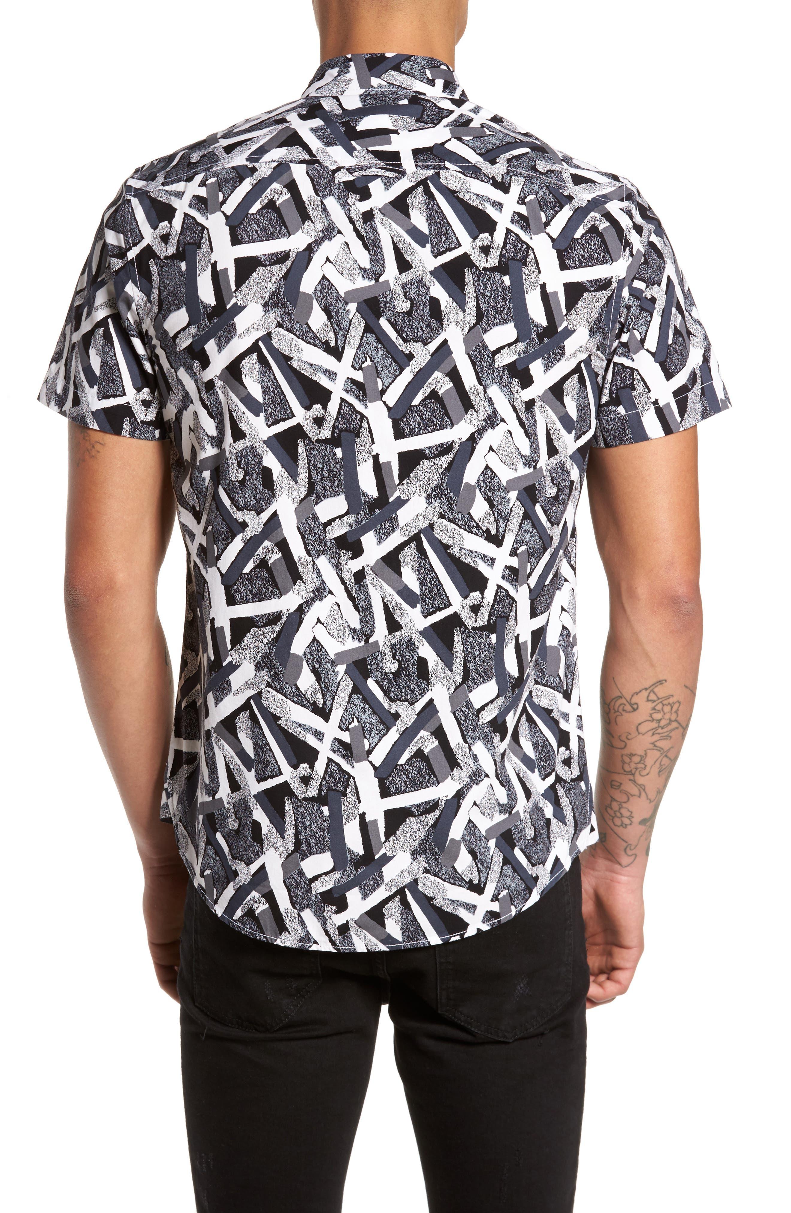 Short Sleeve Print Poplin Shirt,                             Alternate thumbnail 3, color,                             Grey Geo Cross Hatch