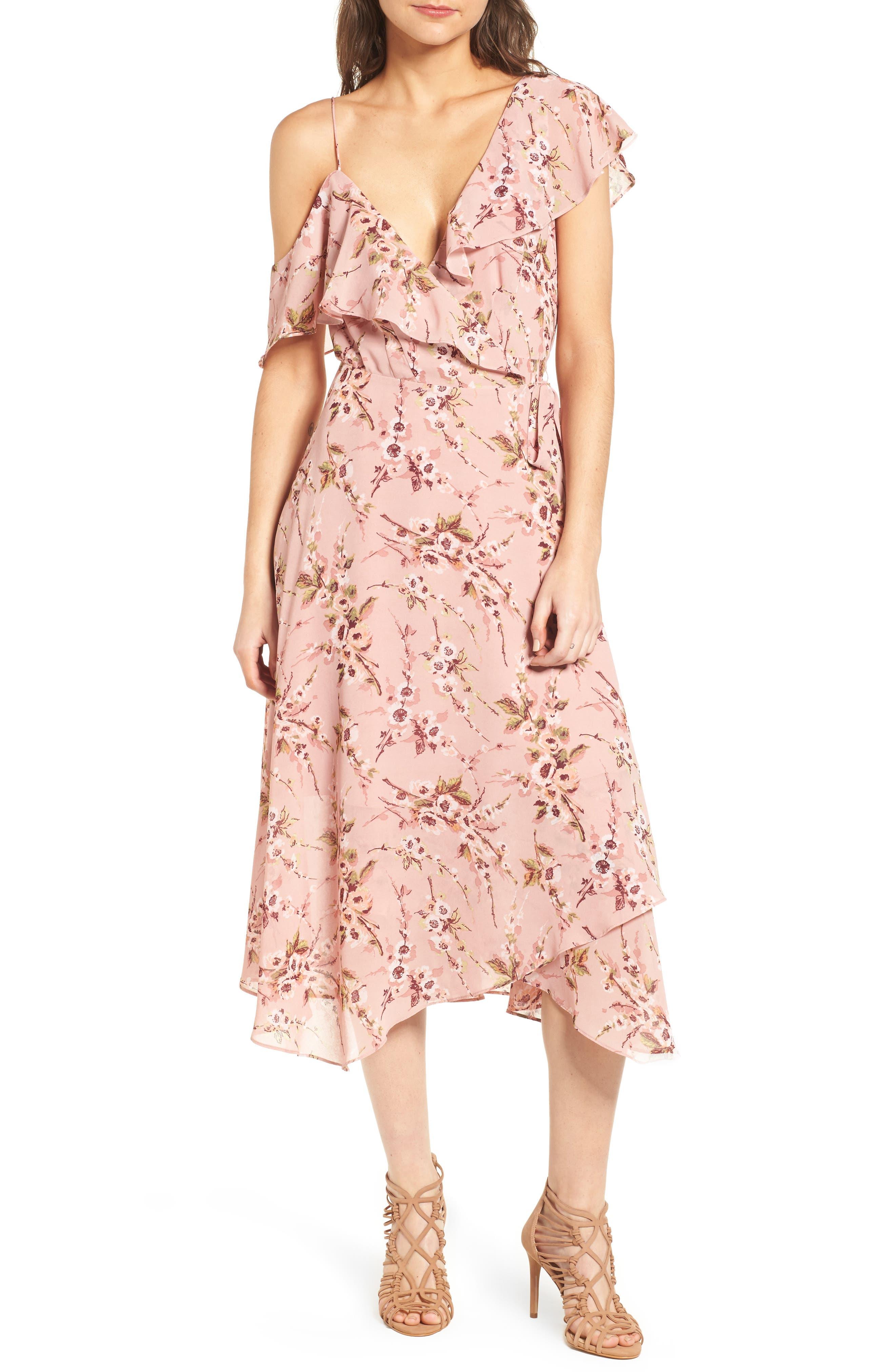 Jenna Asymmetrical Wrap Dress,                             Main thumbnail 1, color,                             Pomegranate Floral