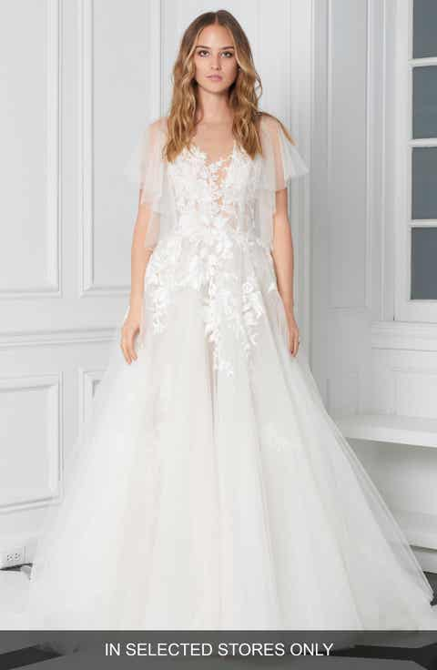 Womens bliss monique lhuillier wedding dresses bridal gowns bliss monique lhuillier flutter sleeve embroidered ballgown junglespirit Images