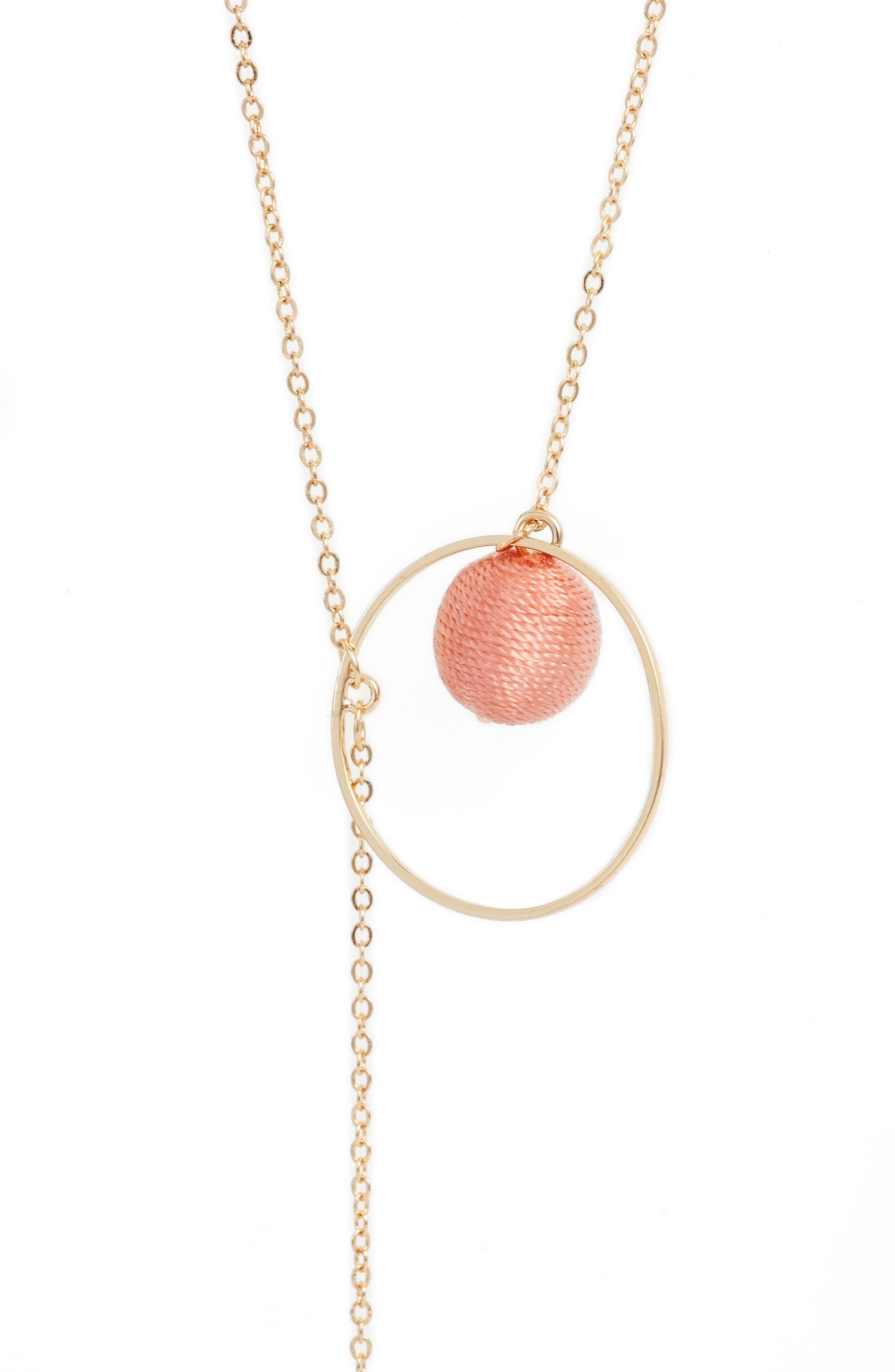 Threaded Sphere Necklace,                             Alternate thumbnail 2, color,                             Pink/ Gold