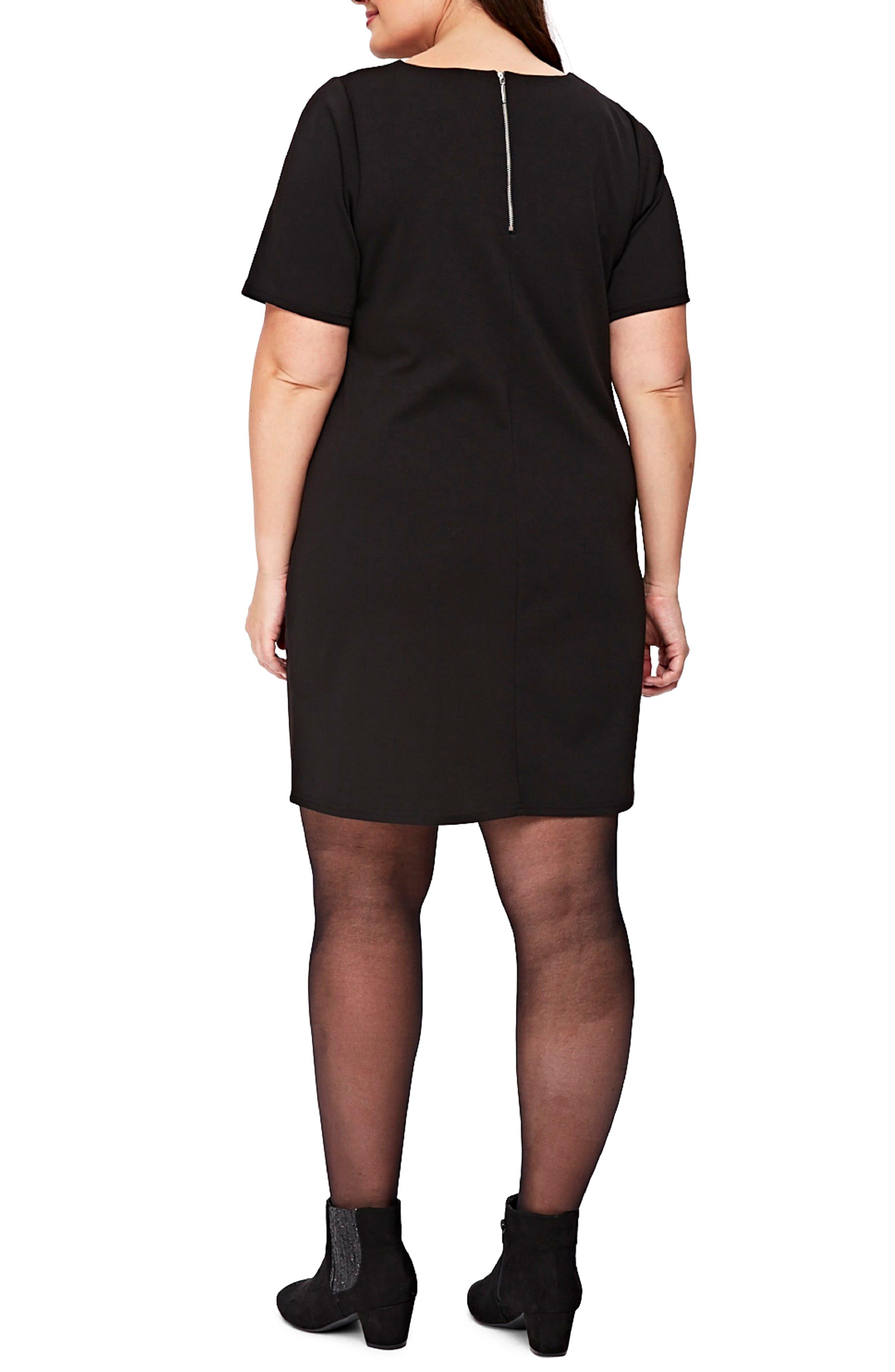 Ponte Knit Tunic Dress,                             Alternate thumbnail 2, color,                             Black