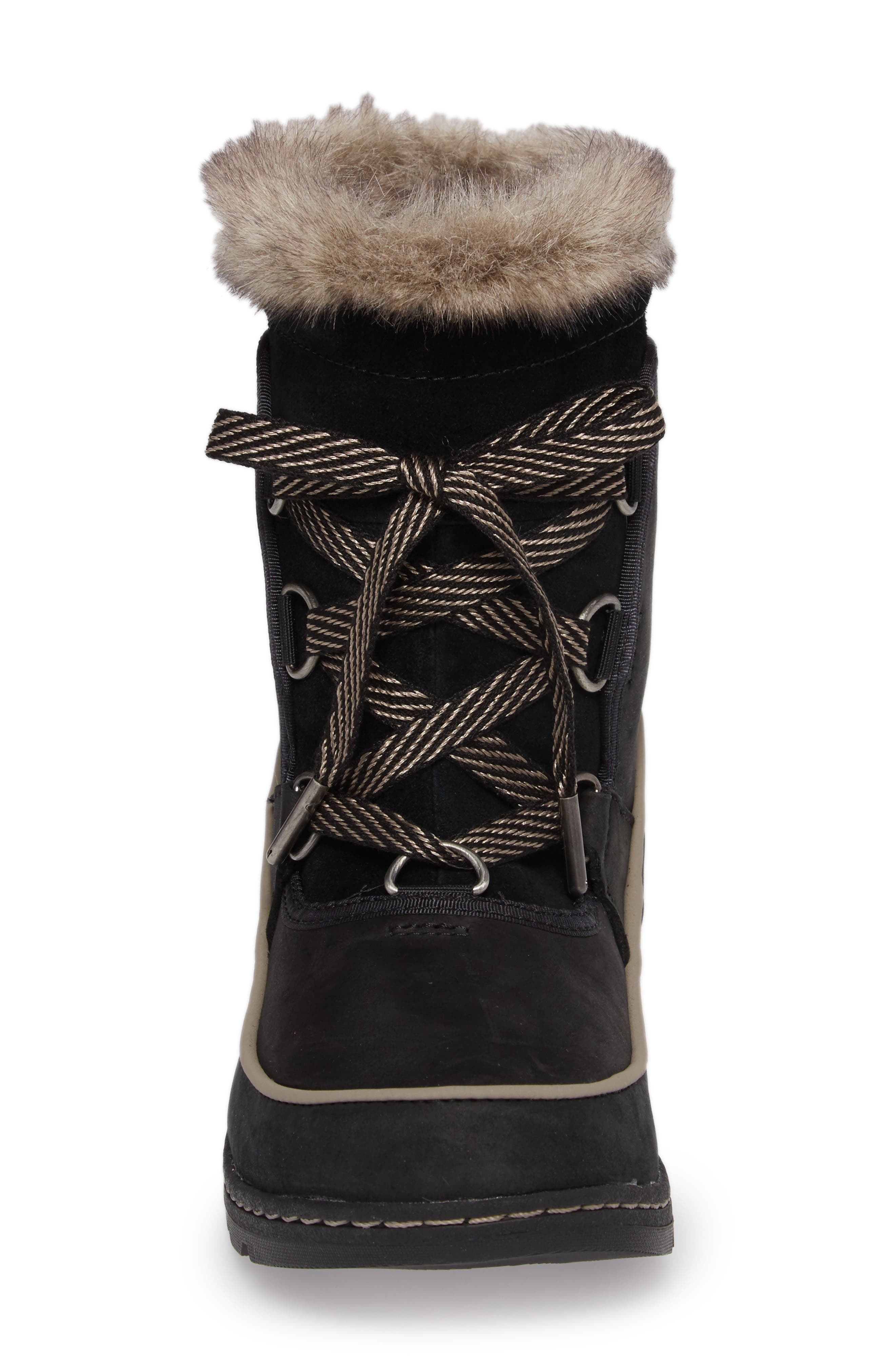 Tivoli II Insulated Winter Boot with Faux Fur Trim,                             Alternate thumbnail 4, color,                             Black/ Kettle