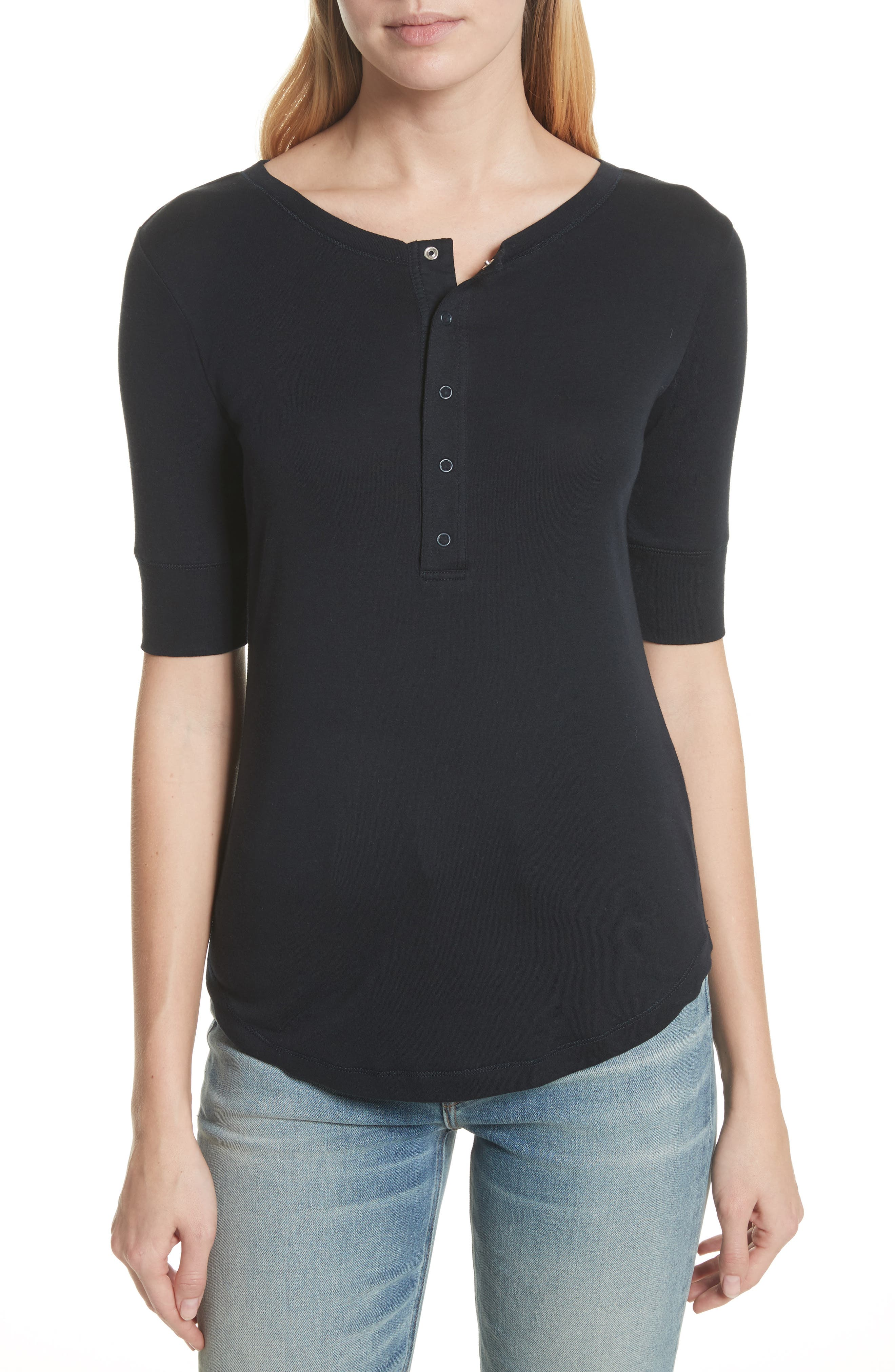 Vince Elbow Sleeve Henley Cotton Top