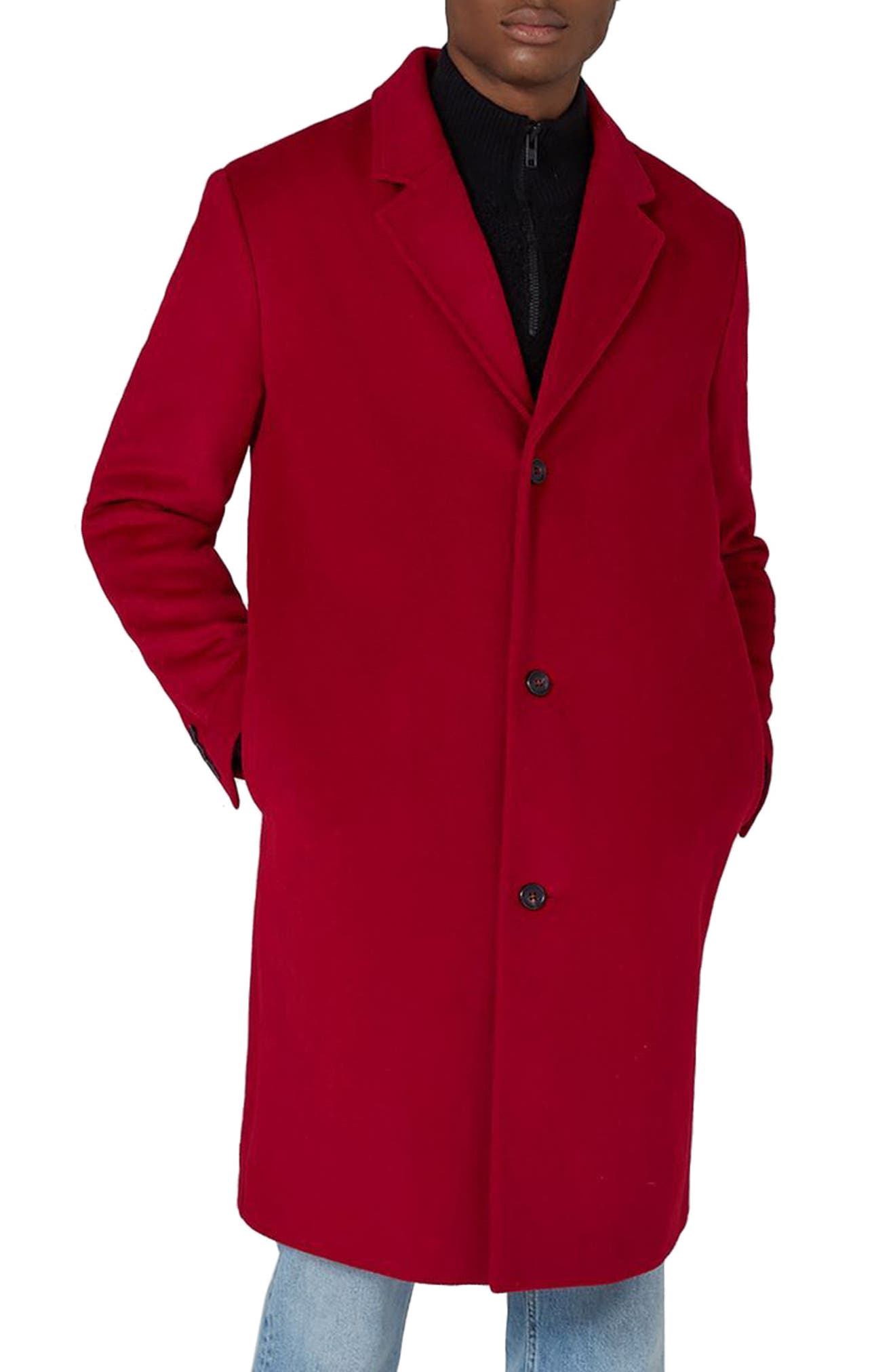 Oversized Single Breasted Coat,                         Main,                         color, Red