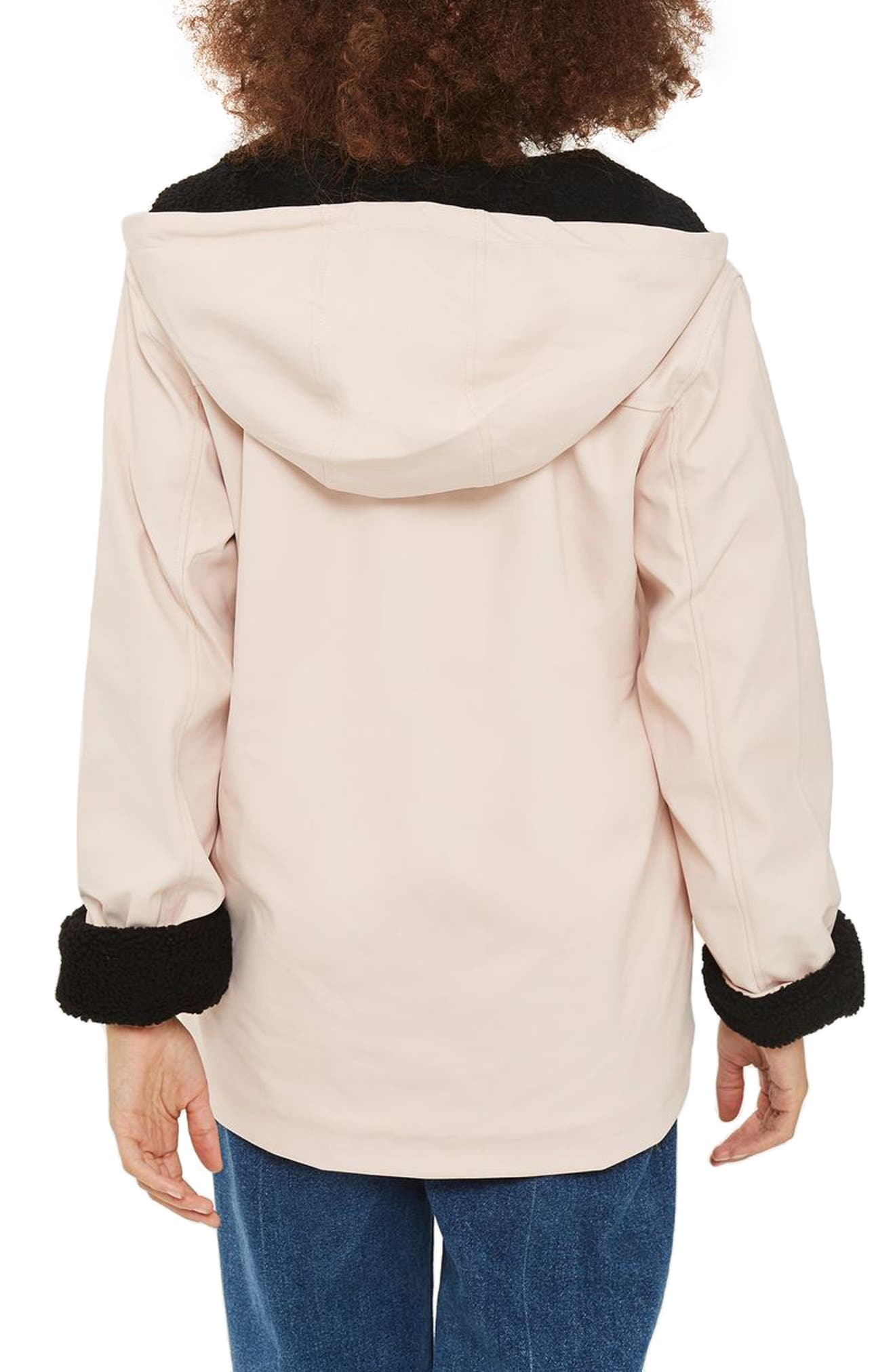 Hooded Raincoat,                             Alternate thumbnail 2, color,                             Light Pink Multi