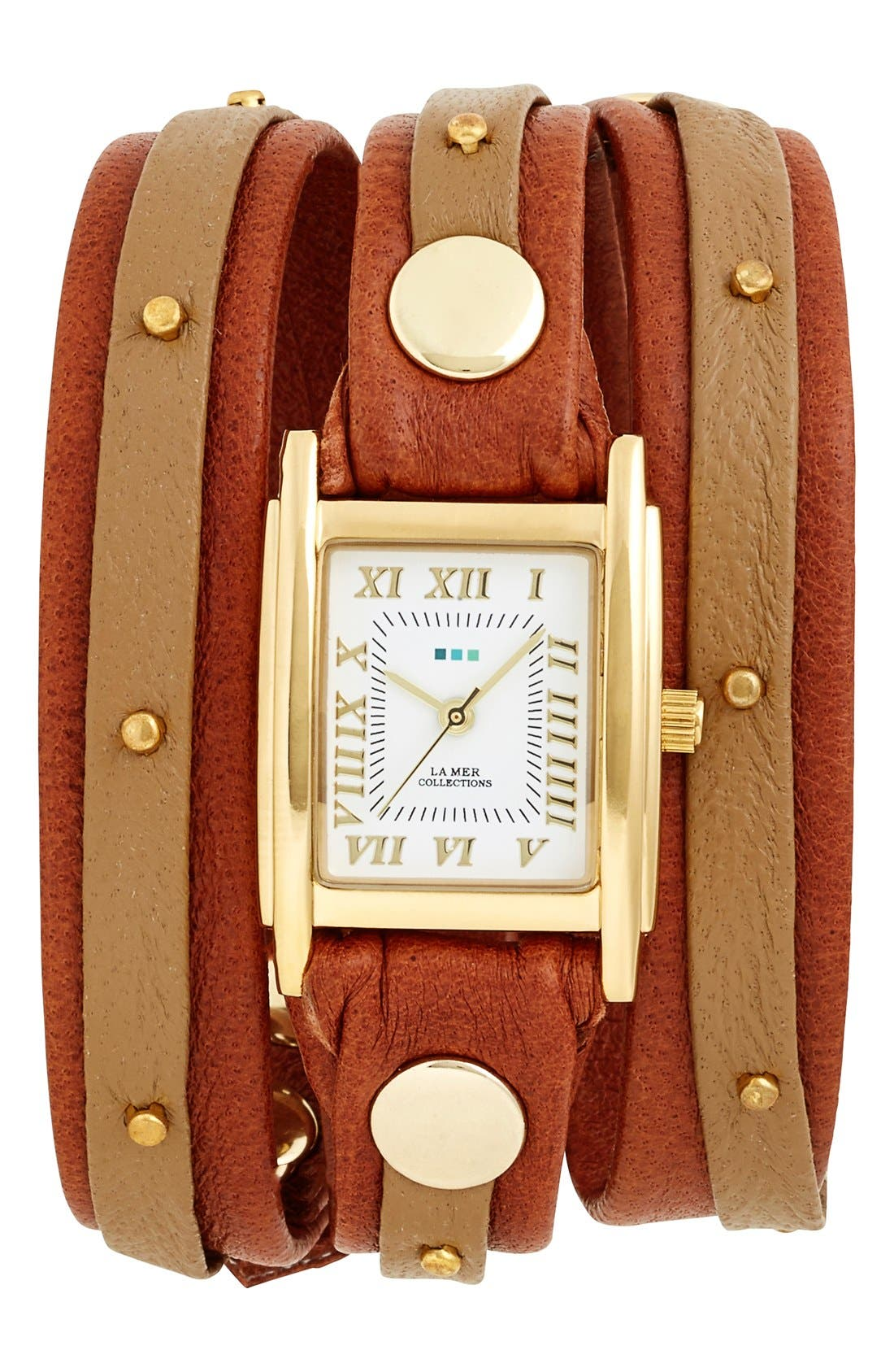 Studded Leather Wrap Watch, 19mm,                             Main thumbnail 1, color,                             Tan/ Gold