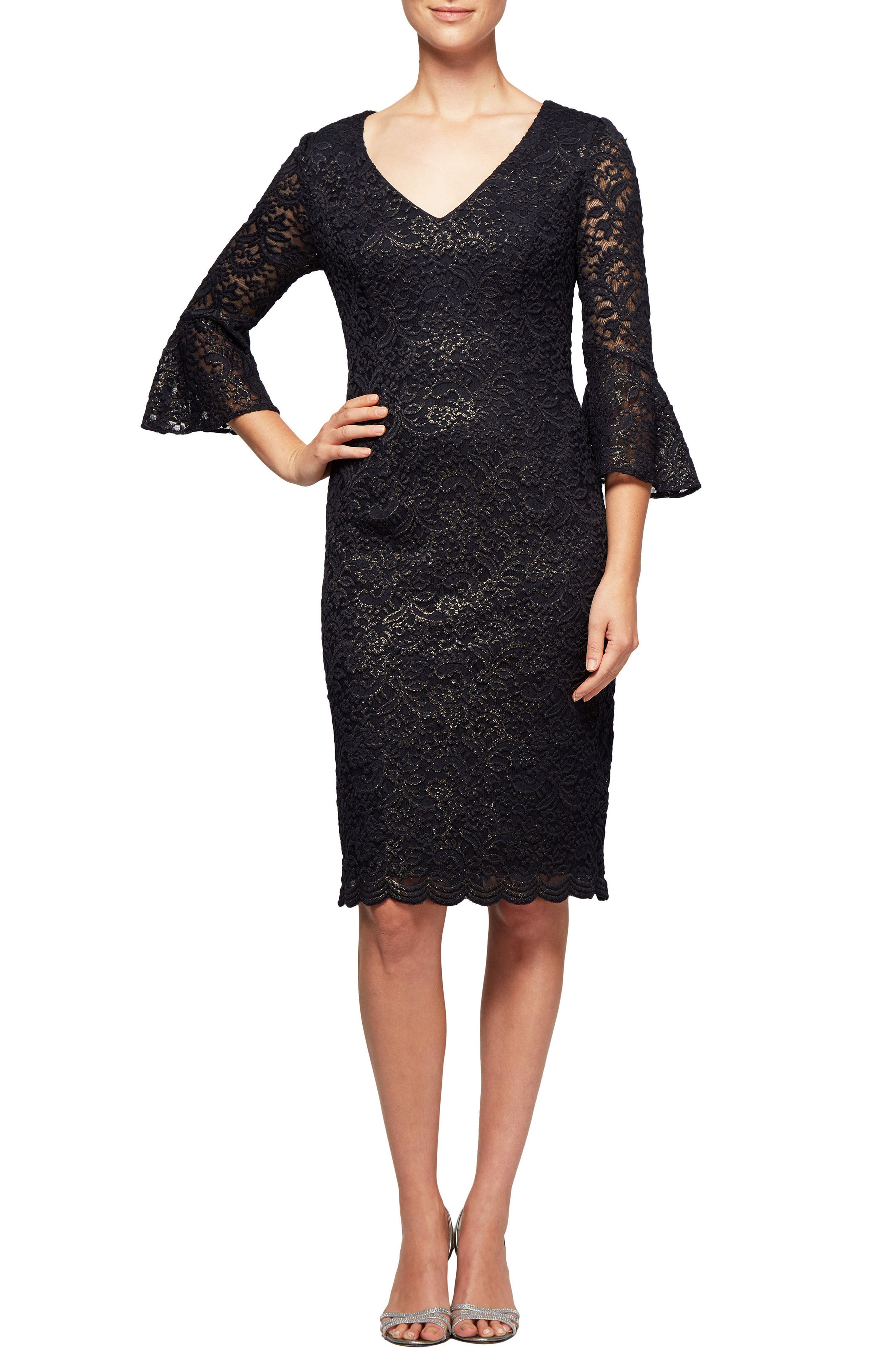 Metallic Lace Bell Sleeve Dress,                         Main,                         color, Navy/ Gold