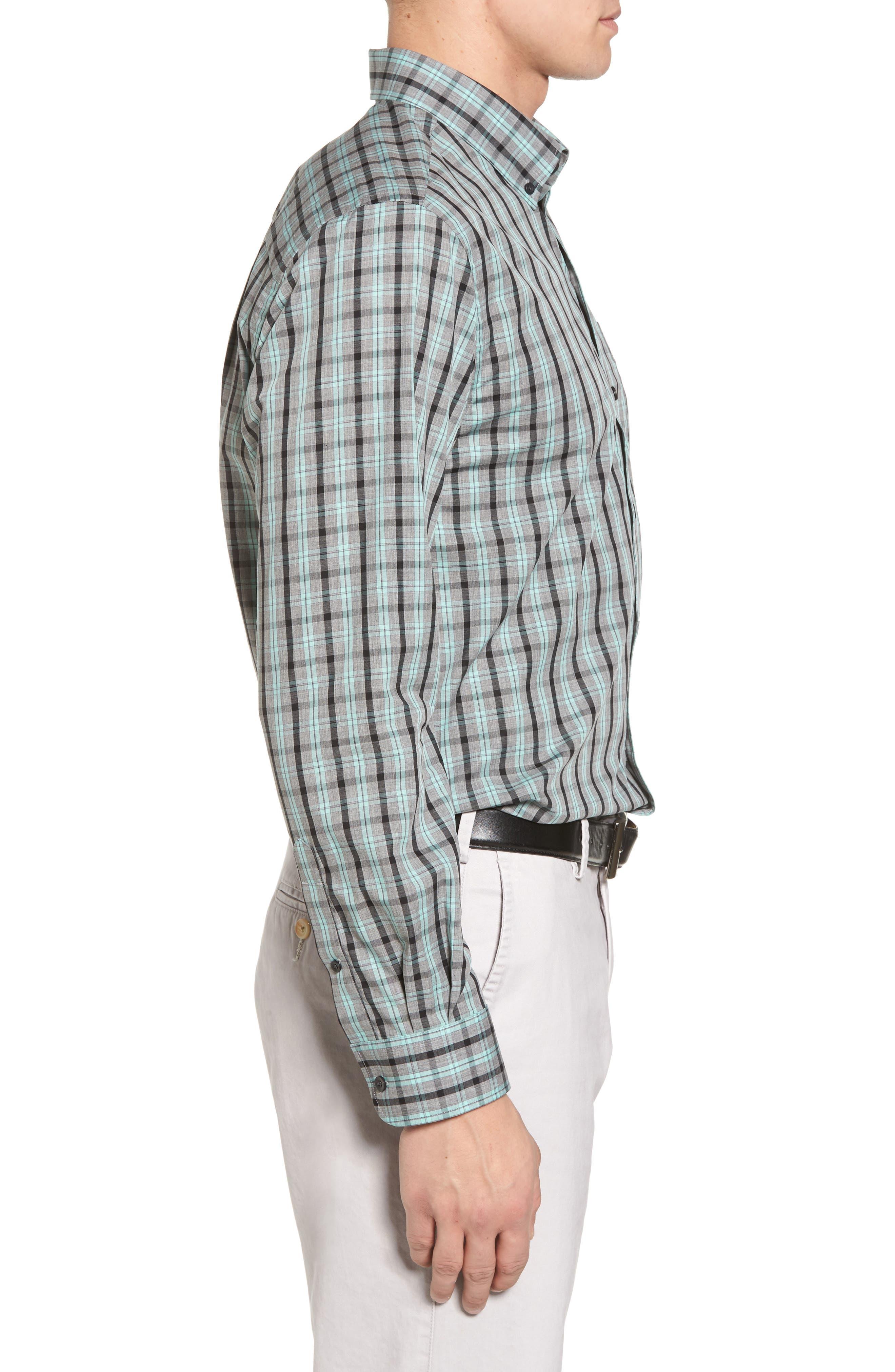 Davis Non-Iron Plaid Sport Shirt,                             Alternate thumbnail 3, color,                             Aquastone