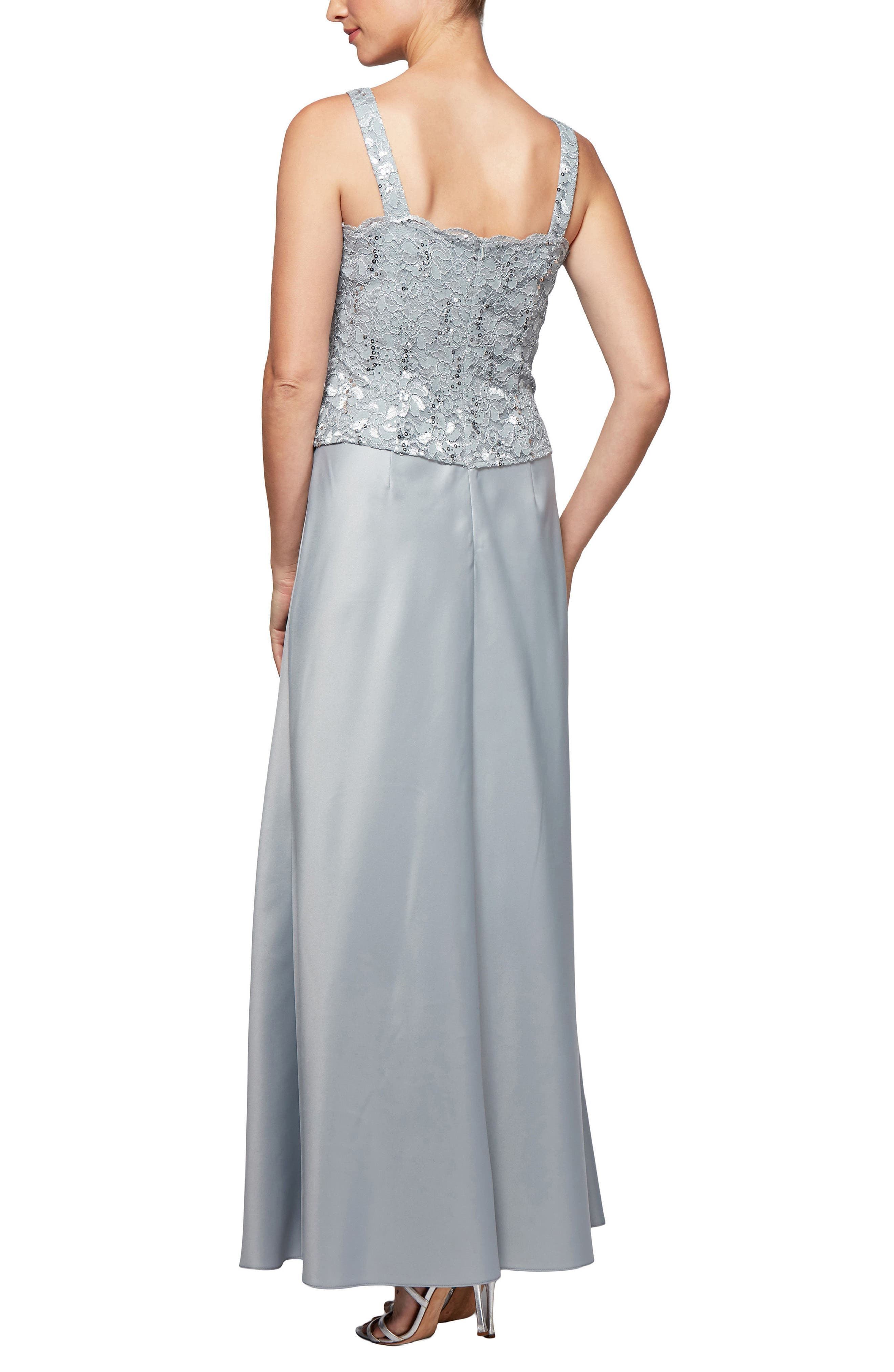 Scalloped Lace Gown with Jacket,                             Alternate thumbnail 3, color,                             Silver Frost