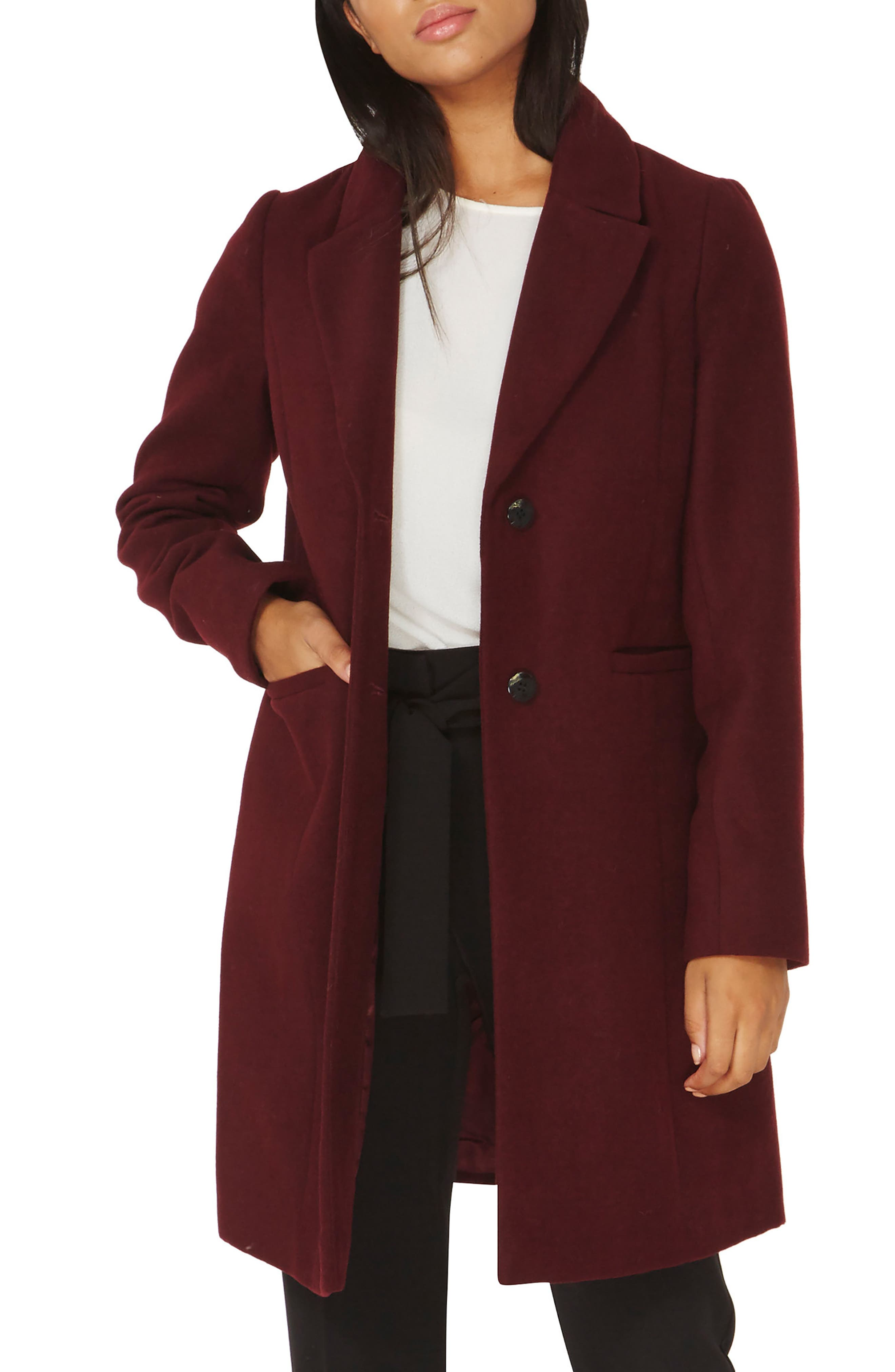 Single Breasted Coat,                         Main,                         color, Berry Red