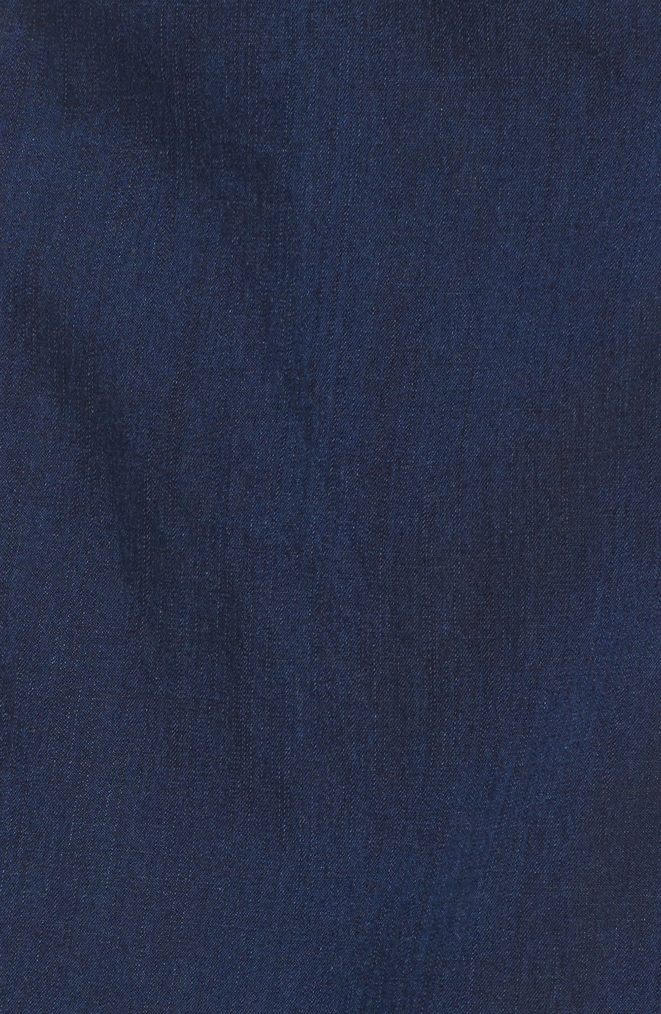 Faux Wrap Denim Skirt,                             Alternate thumbnail 5, color,                             Midnight
