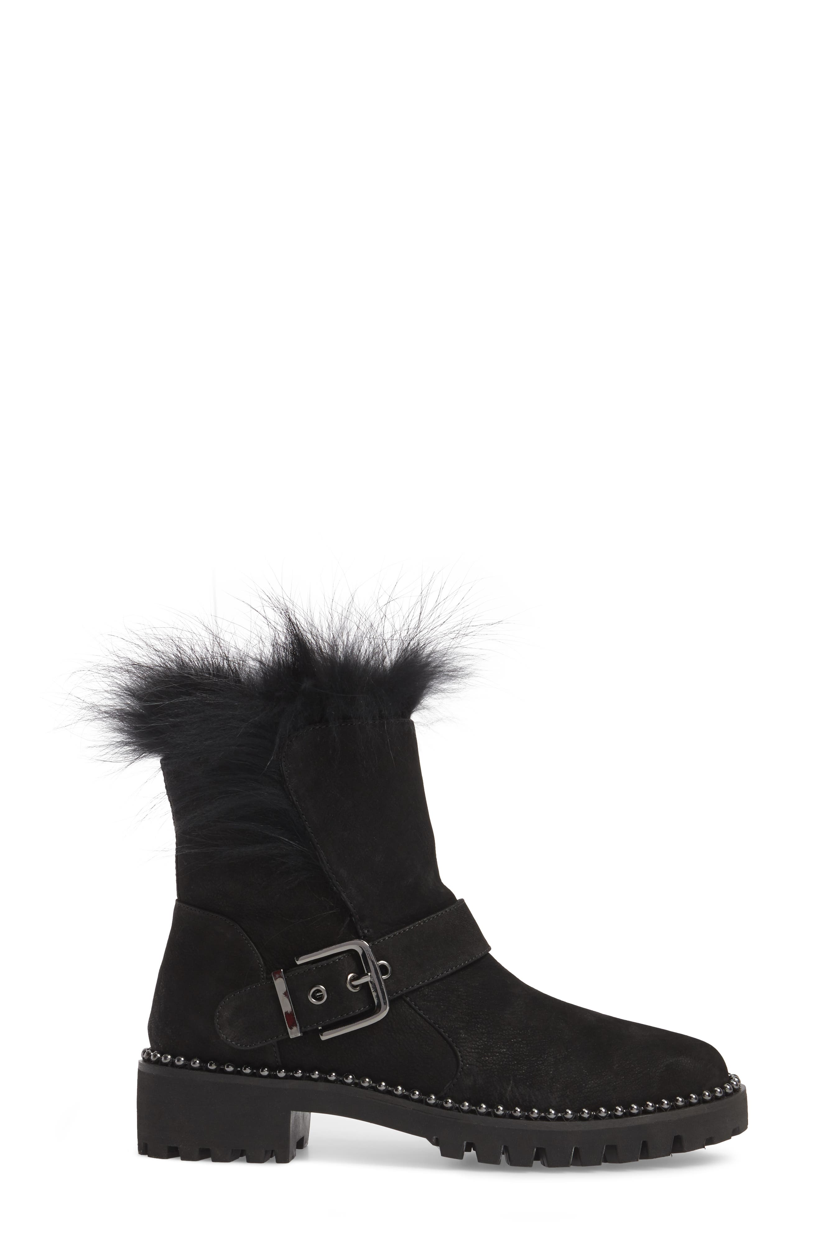Theresa Boot with Genuine Fox Fur Trim,                             Alternate thumbnail 3, color,                             Black Suede
