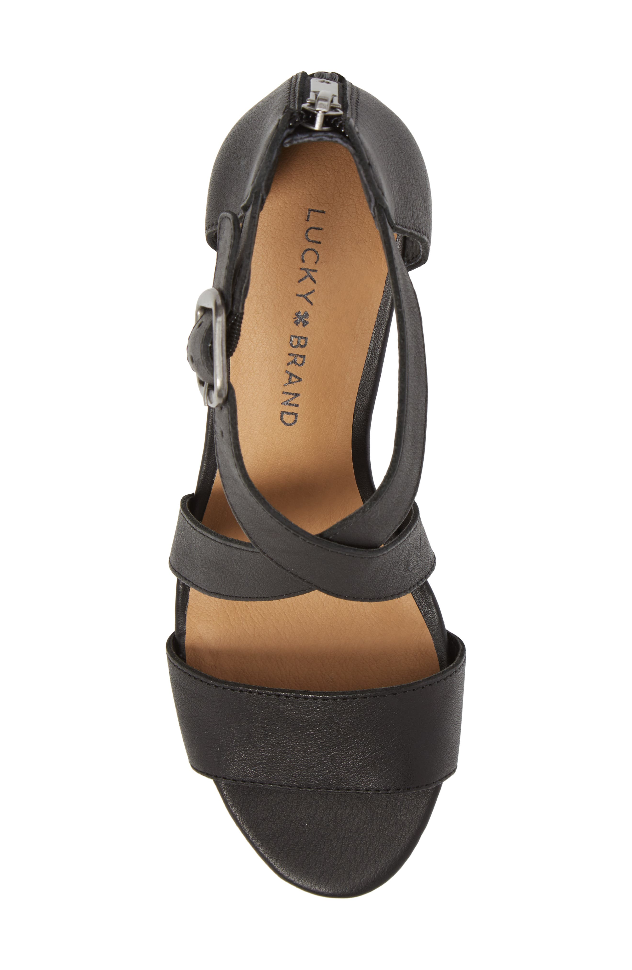 Jestah Wedge Sandal,                             Alternate thumbnail 5, color,                             Black Leather