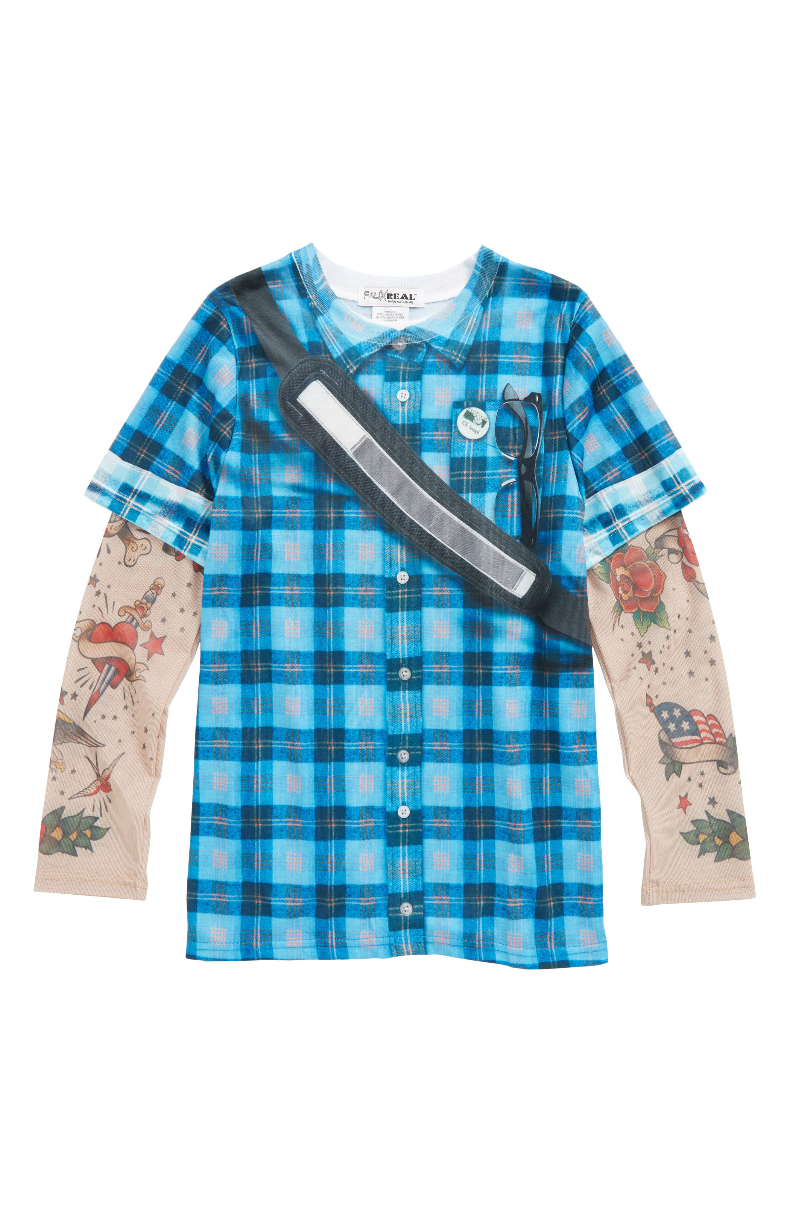 Hipster Messenger Bag Print Plaid T-Shirt with Tattoo Print Sleeves,                         Main,                         color, Blue Plaid