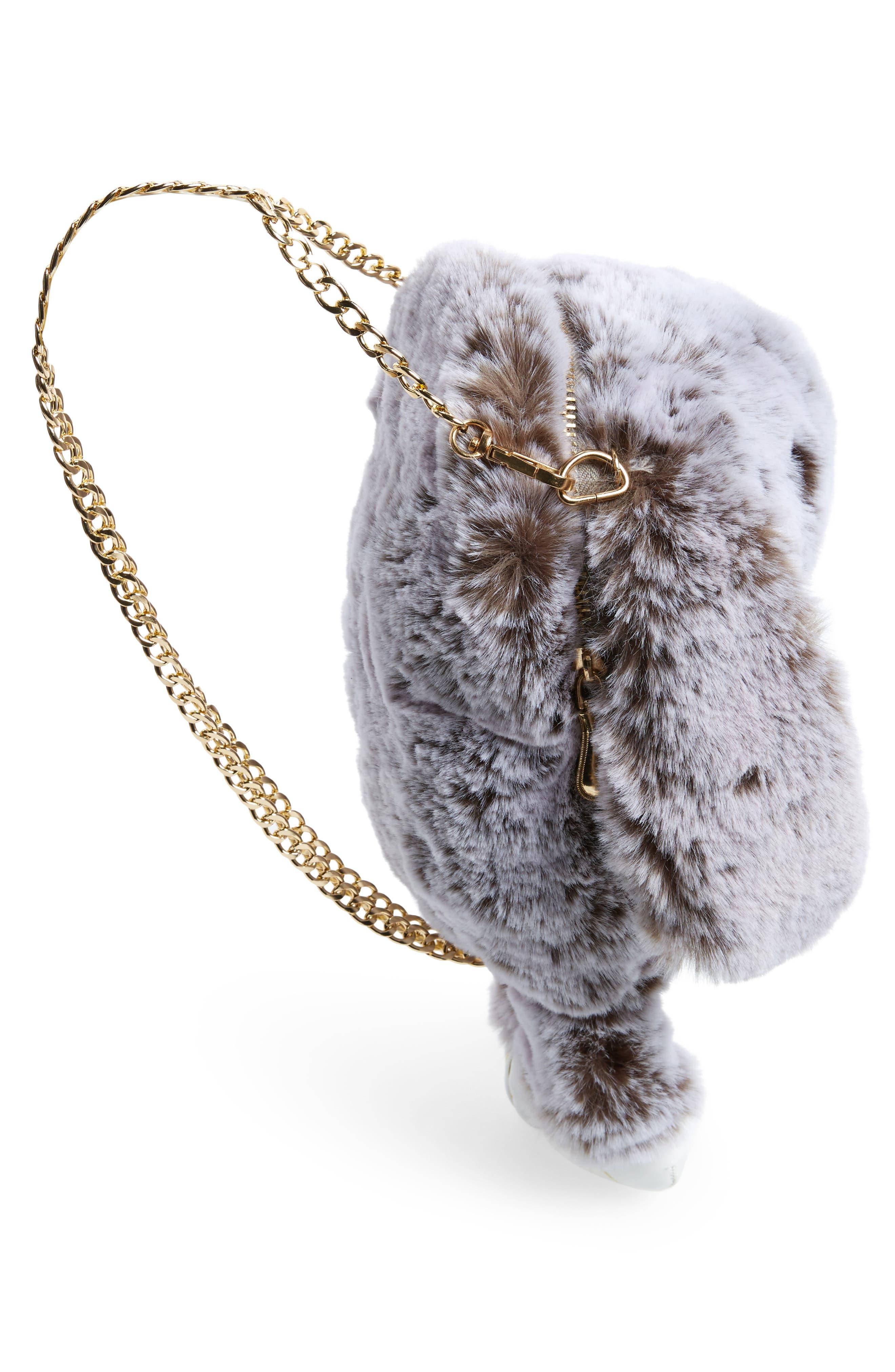 Cara Plush Bunny Backpack,                             Alternate thumbnail 4, color,                             Grey