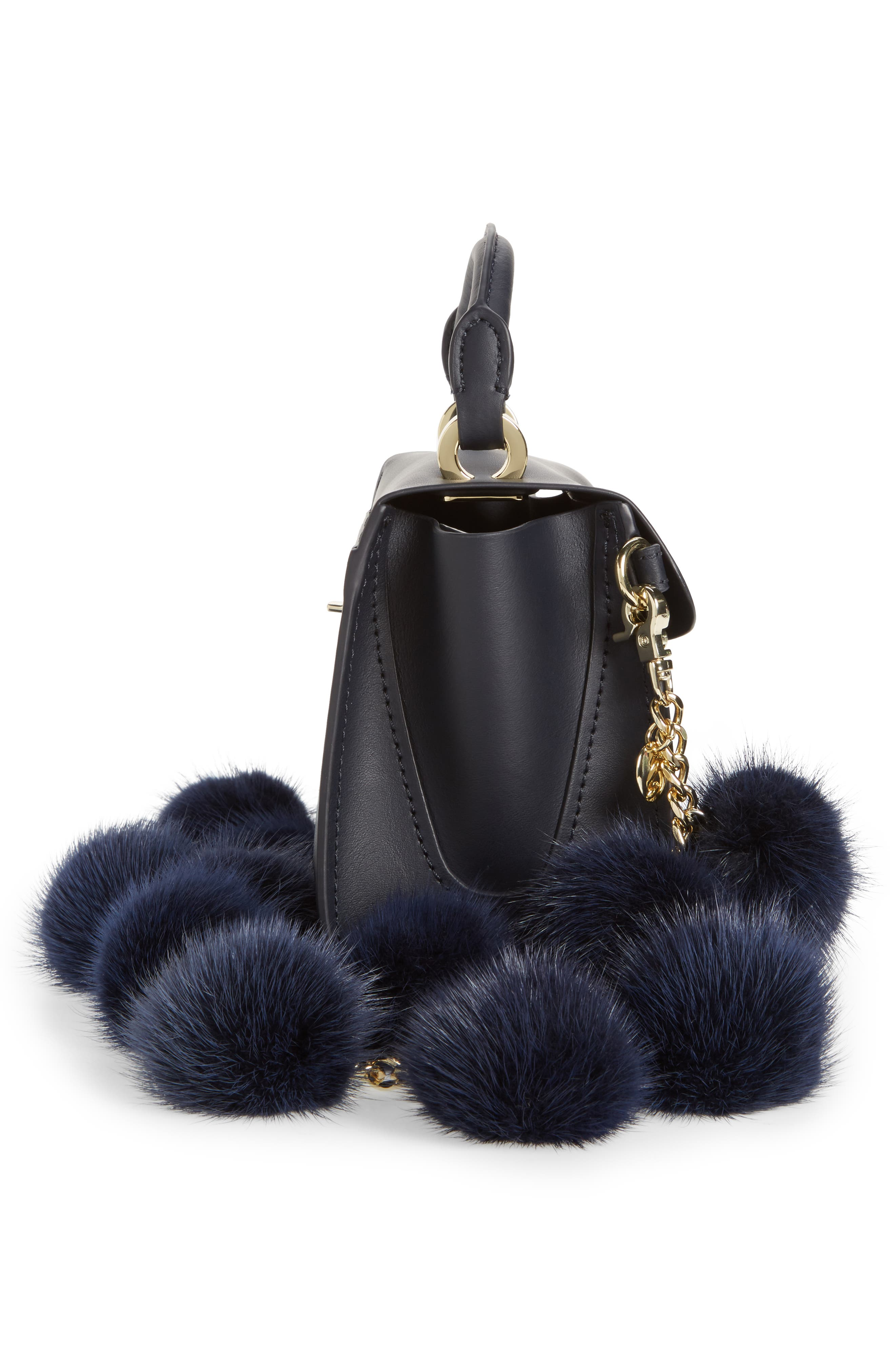 Eartha Iconic Leather Satchel with Genuine Mink Fur Strap,                             Alternate thumbnail 5, color,                             Navy