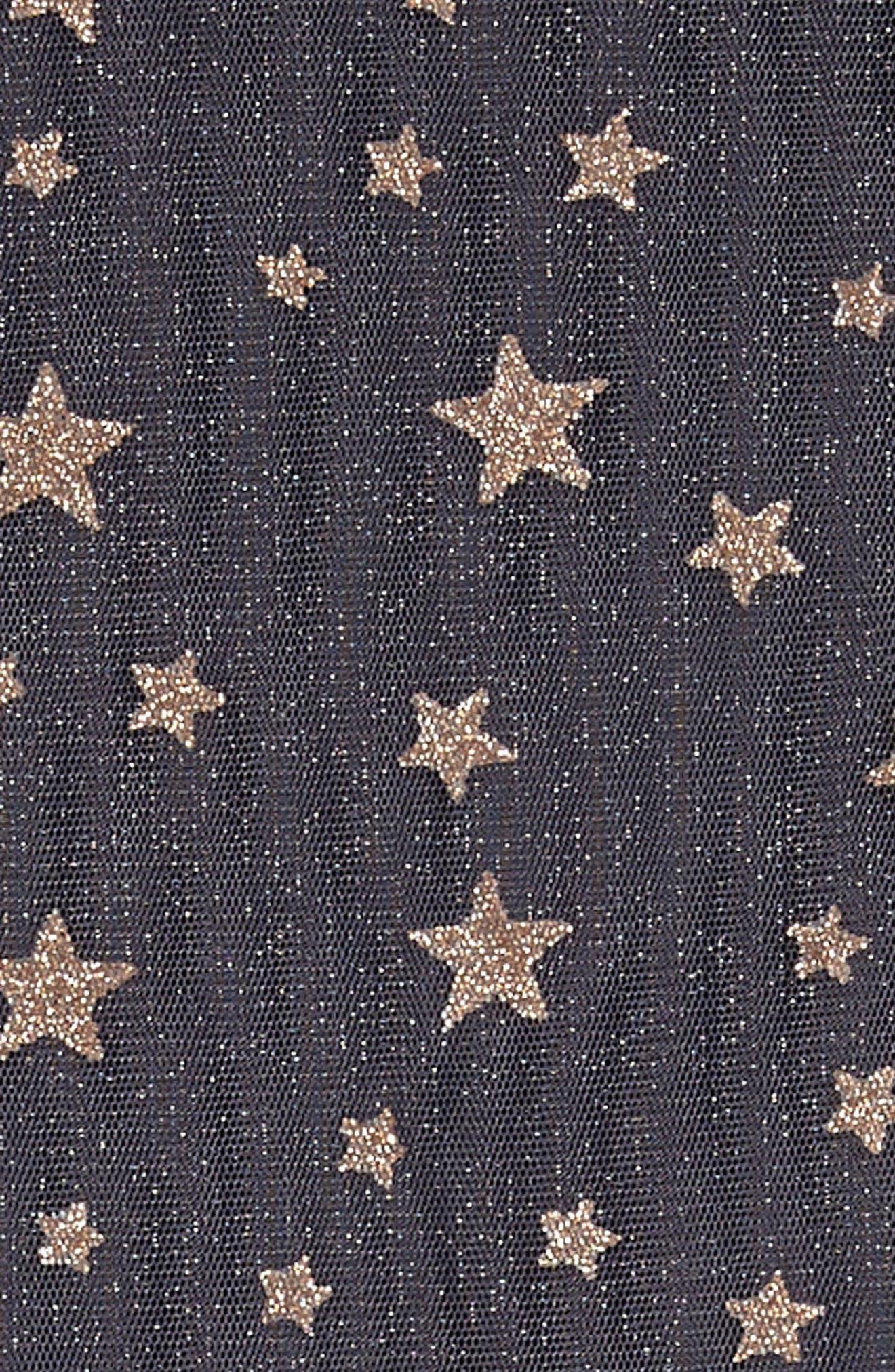 Mesh Star Dress,                             Alternate thumbnail 3, color,                             Char/ Gold