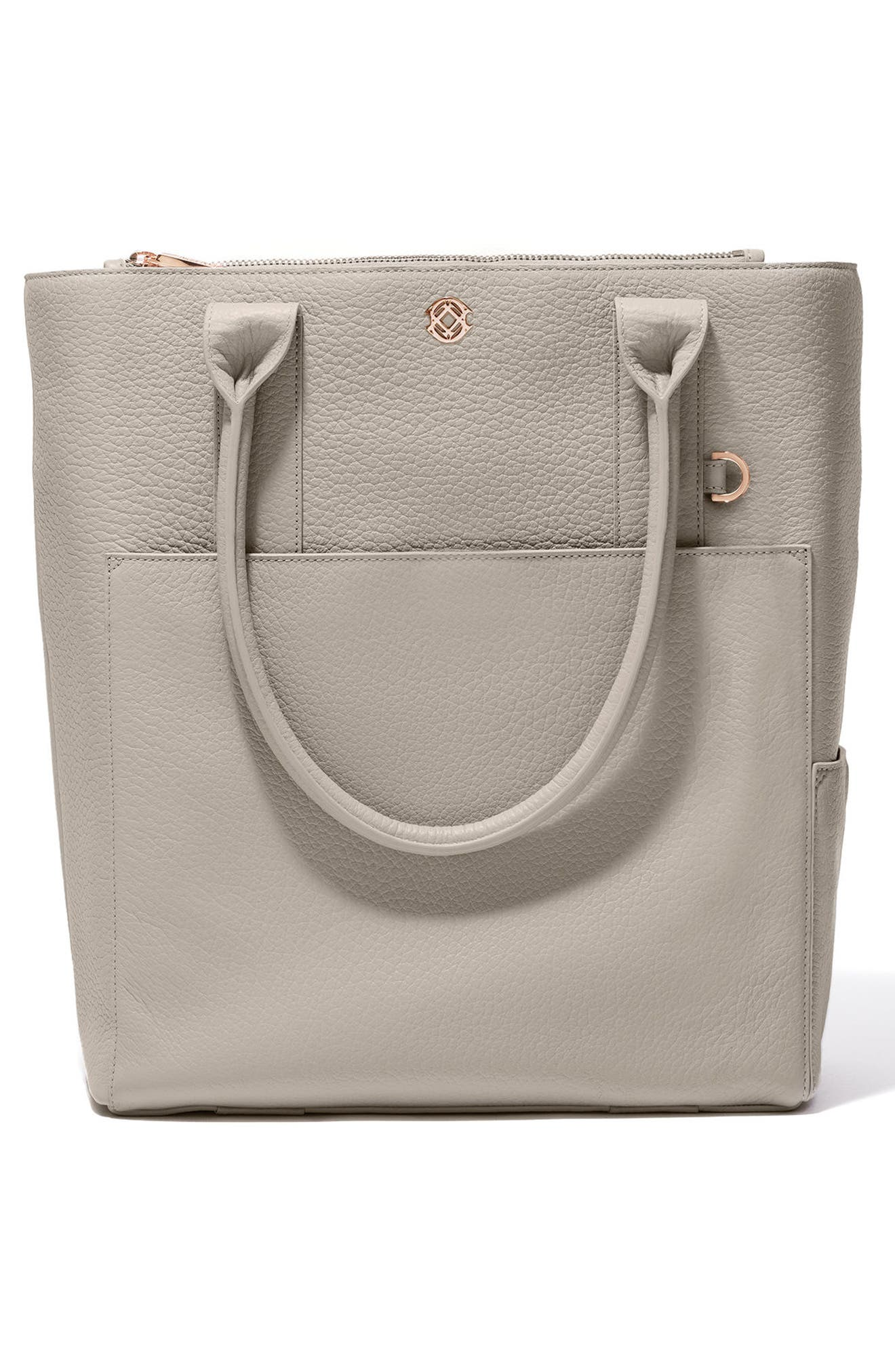 Charlie Leather Tote,                             Alternate thumbnail 3, color,                             Bone