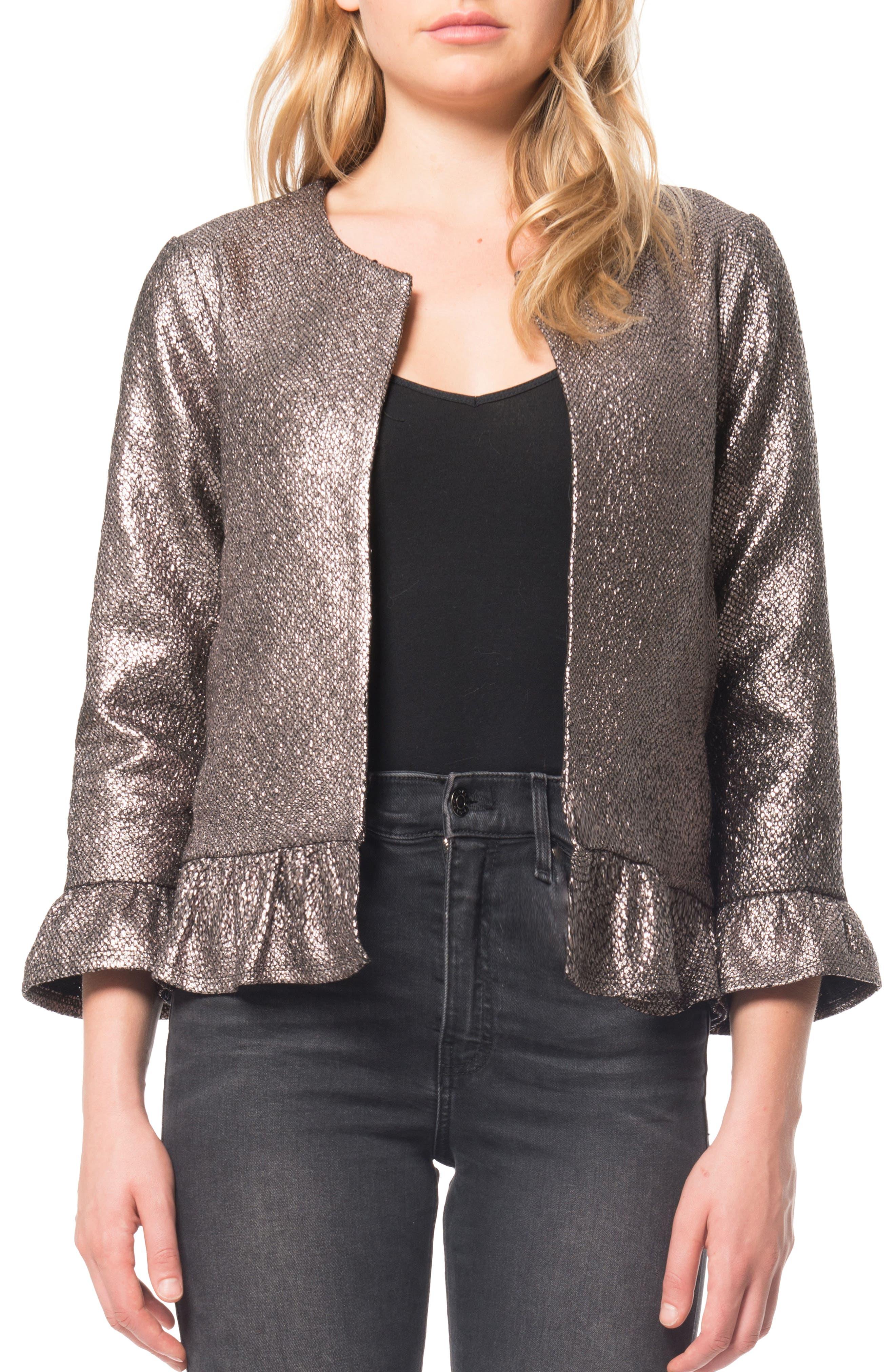 Ruffle Foil Jacket,                         Main,                         color, Platinum