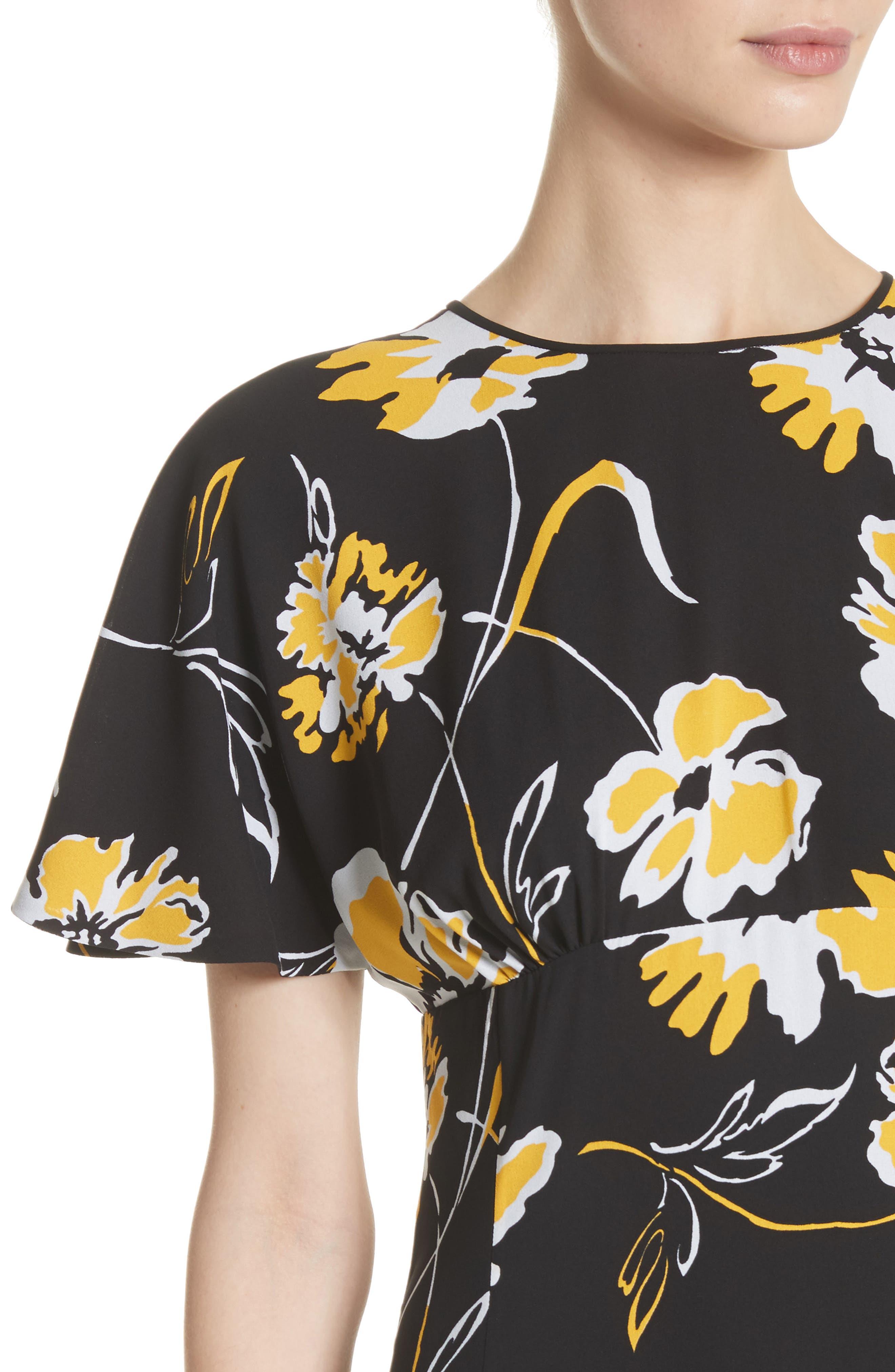 Floral Print Silk Flirt Dress,                             Alternate thumbnail 4, color,                             Lemon