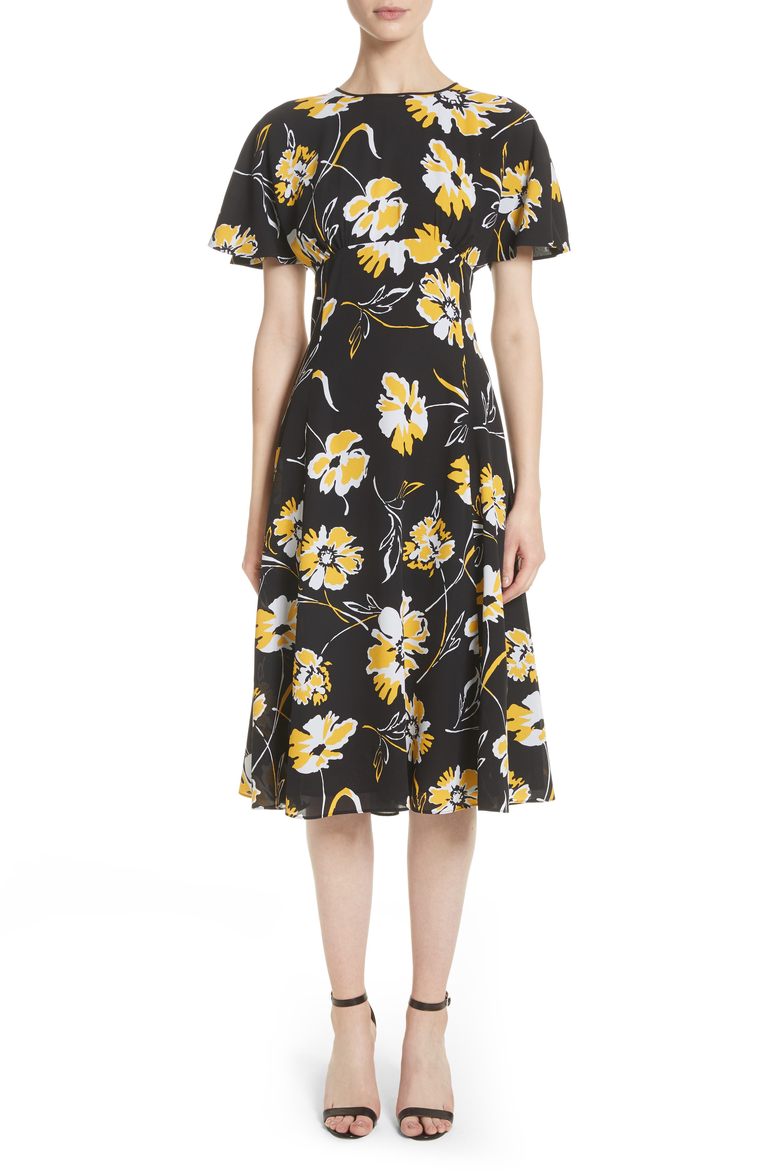 Floral Print Silk Flirt Dress,                         Main,                         color, Lemon