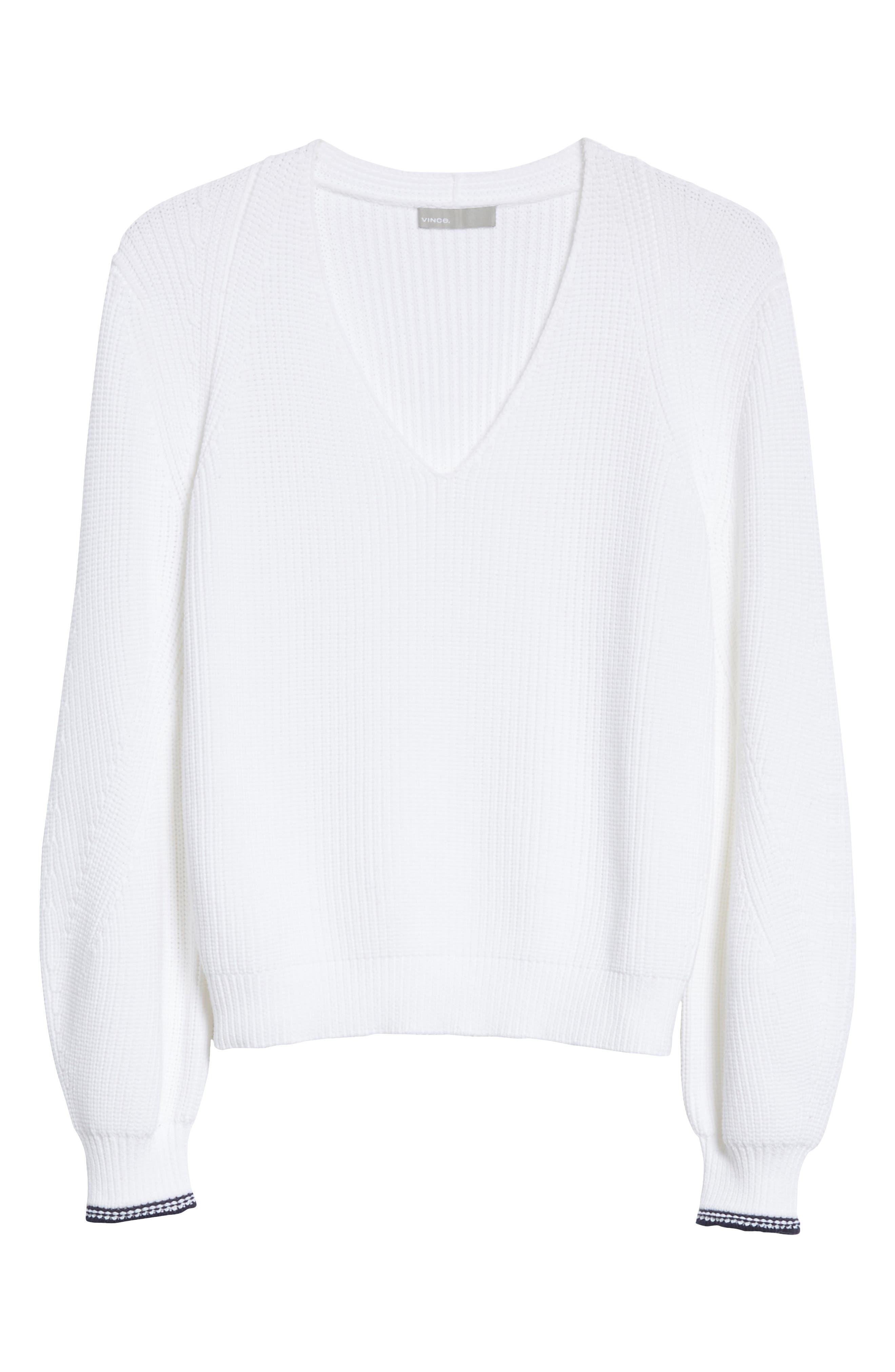 Bishop Sleeve Sweater,                             Alternate thumbnail 6, color,                             Optic White/ Coastal