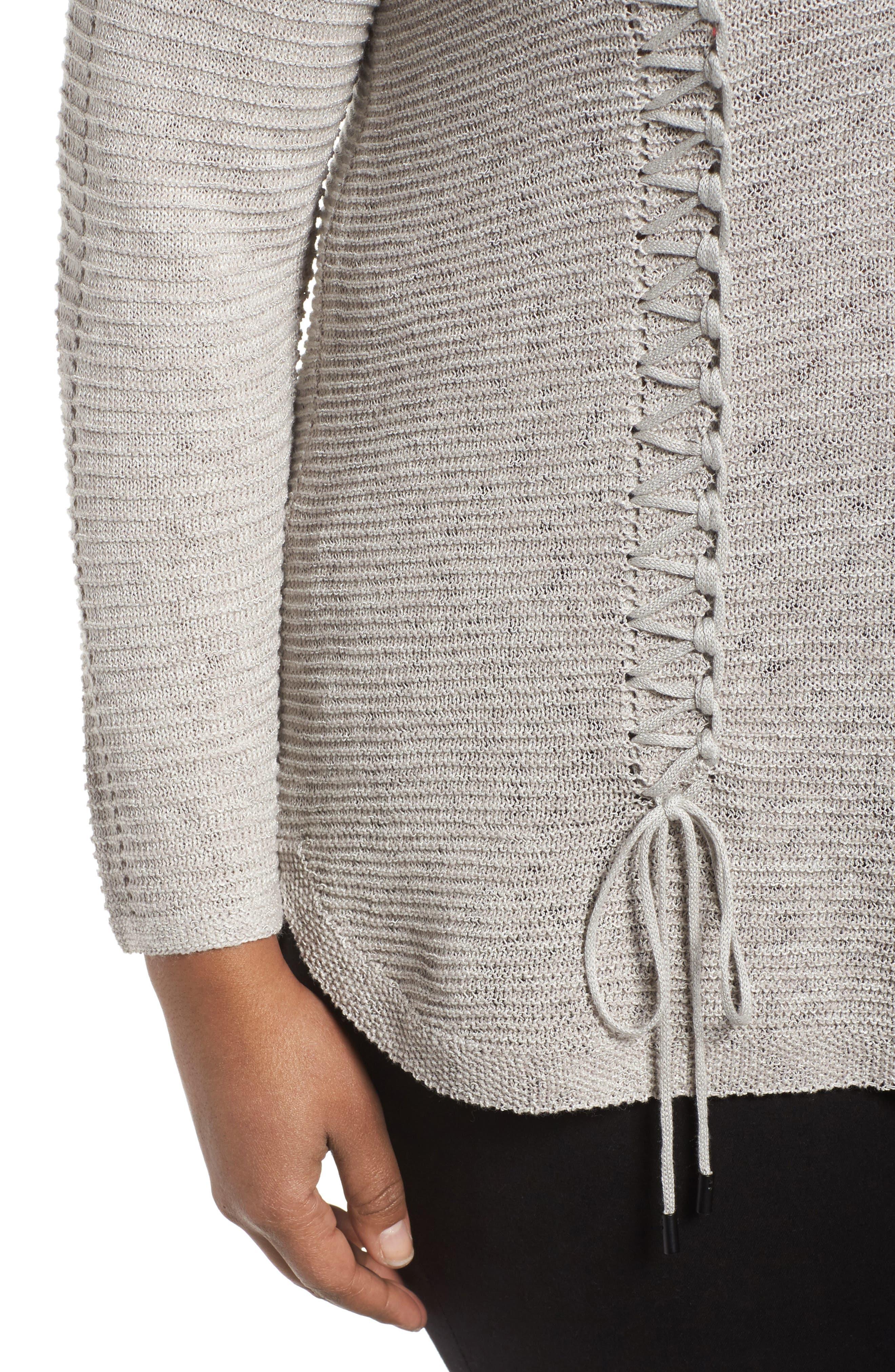 Alternate Image 4  - NIC+ZOE Braided Up Sweater (Plus Size)