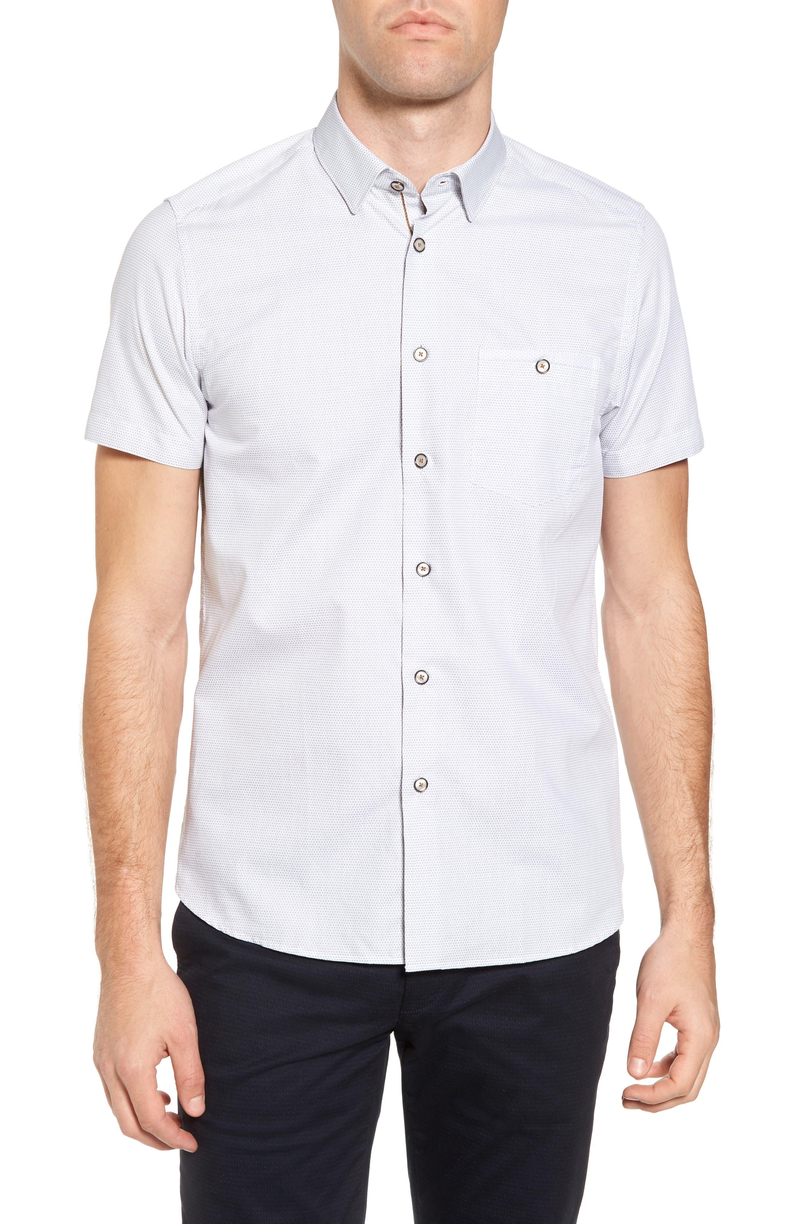 35f87afbed27bd Ted Baker Dotdots Trim Fit Dot Short Sleeve Sport Shirt In White ...