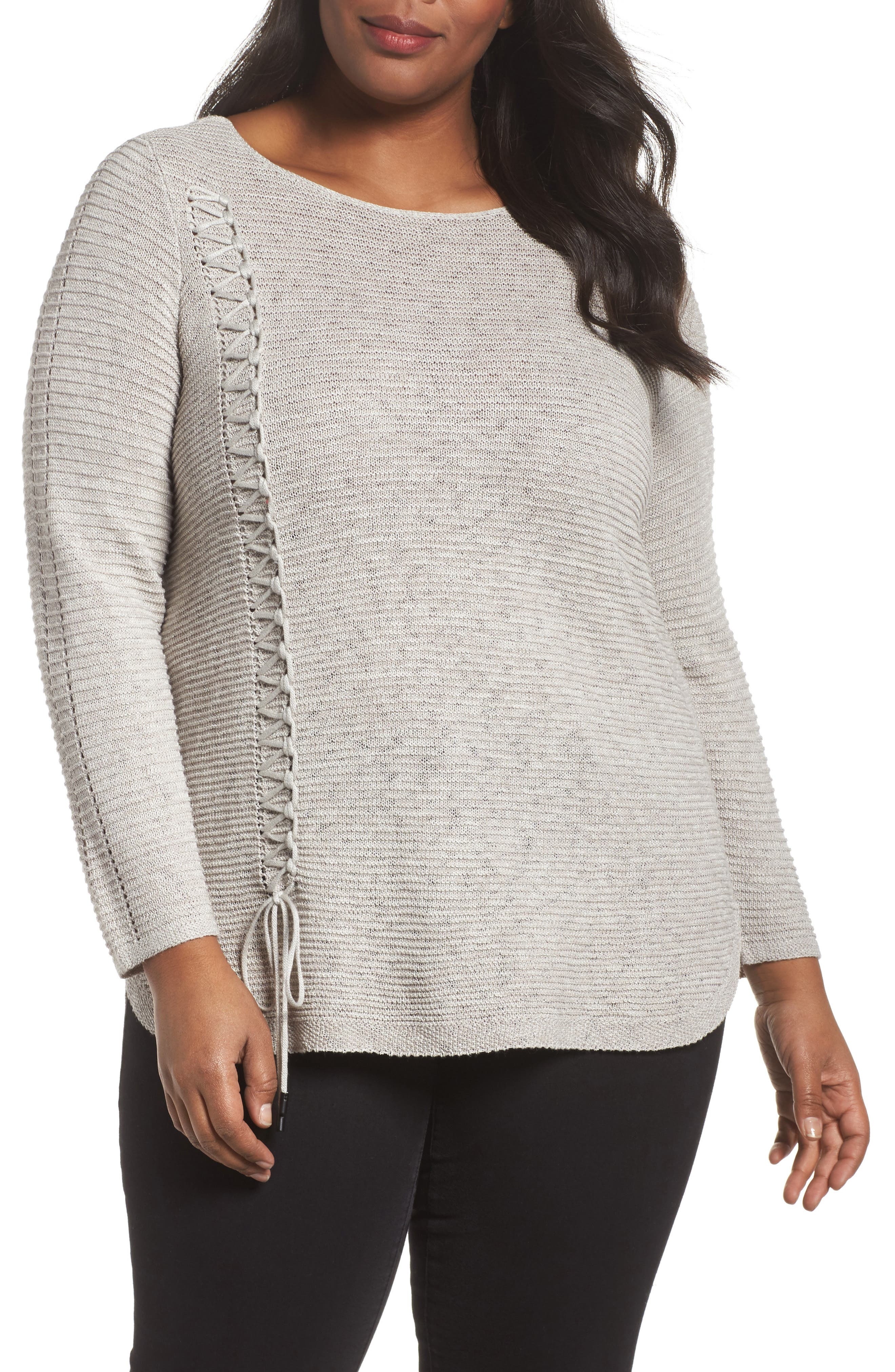 Main Image - NIC+ZOE Braided Up Sweater (Plus Size)