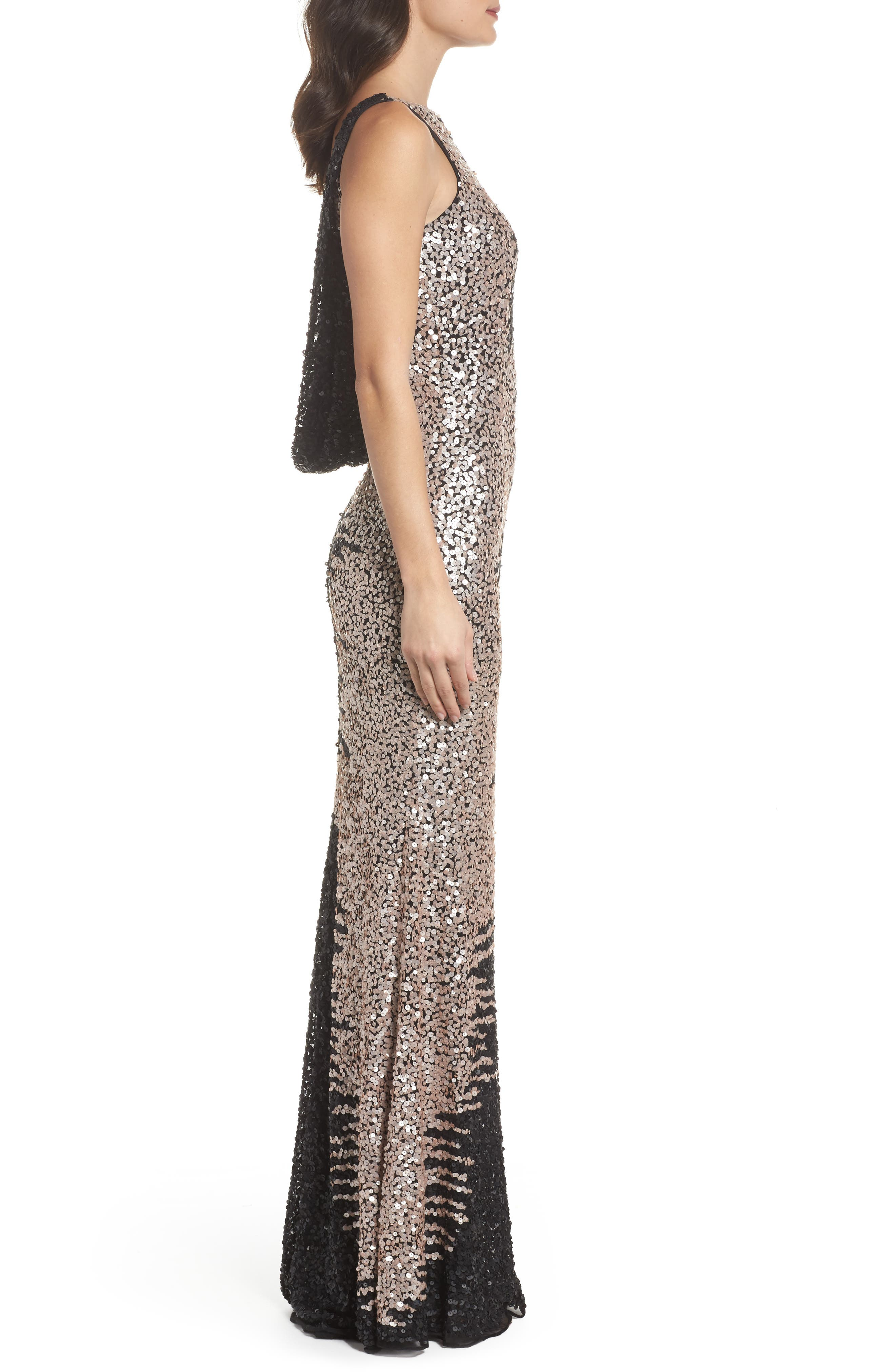 Cowl Back Sequin Gown,                             Alternate thumbnail 3, color,                             Black/Nude