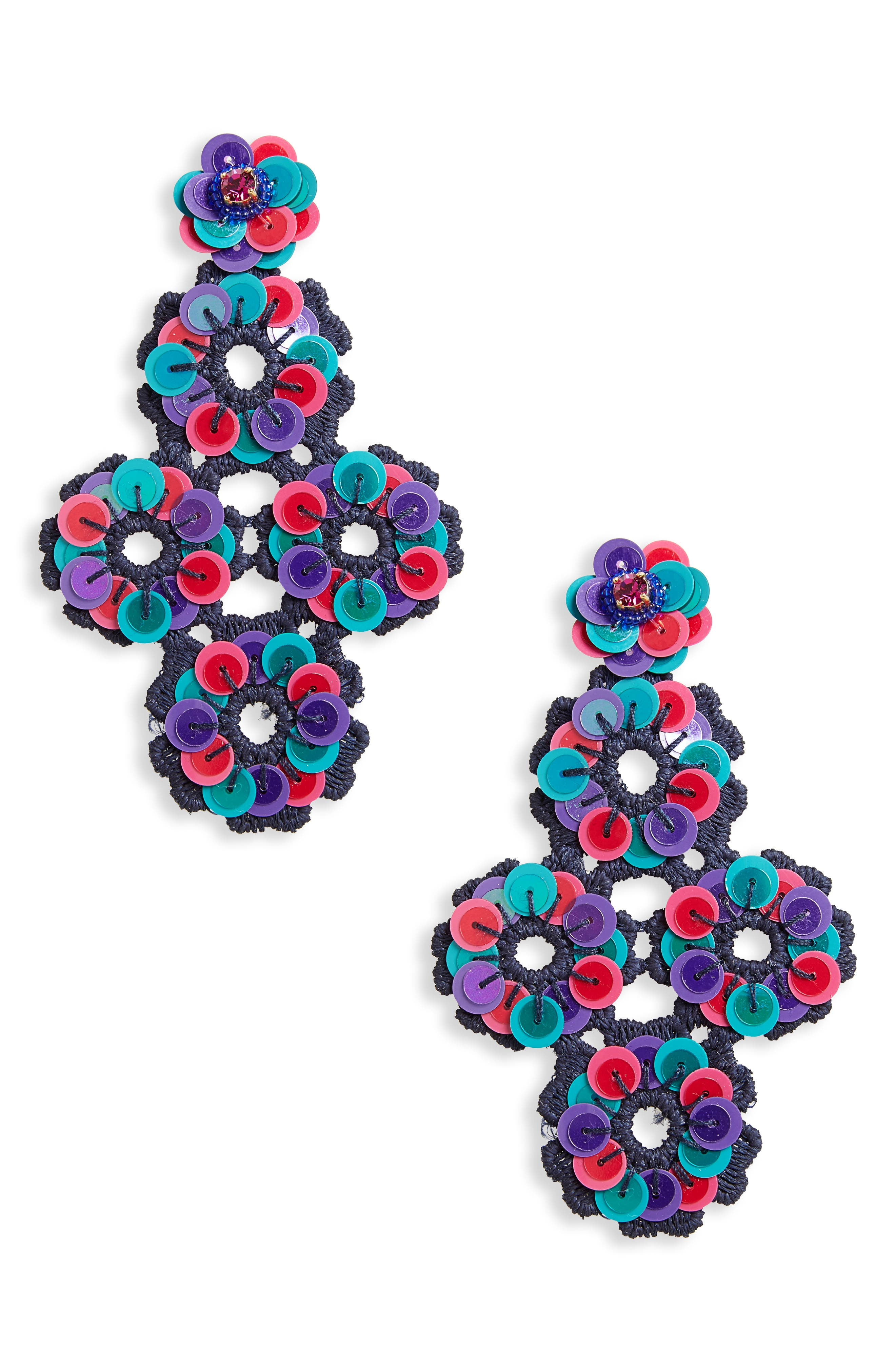 Alternate Image 1 Selected - kate spade new york posy grove sequin statement earrings