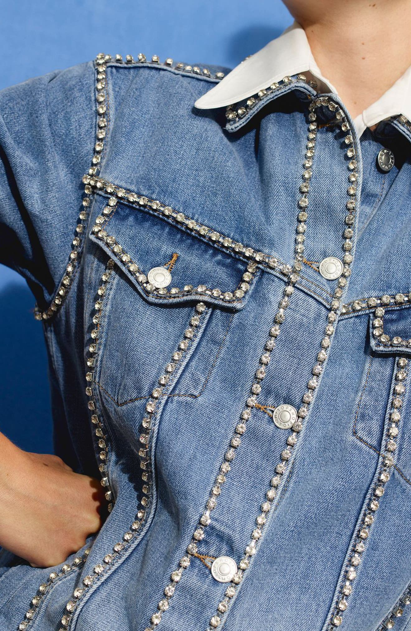 Oversize Crystal Seam Denim Jacket,                             Alternate thumbnail 3, color,                             Mid Denim