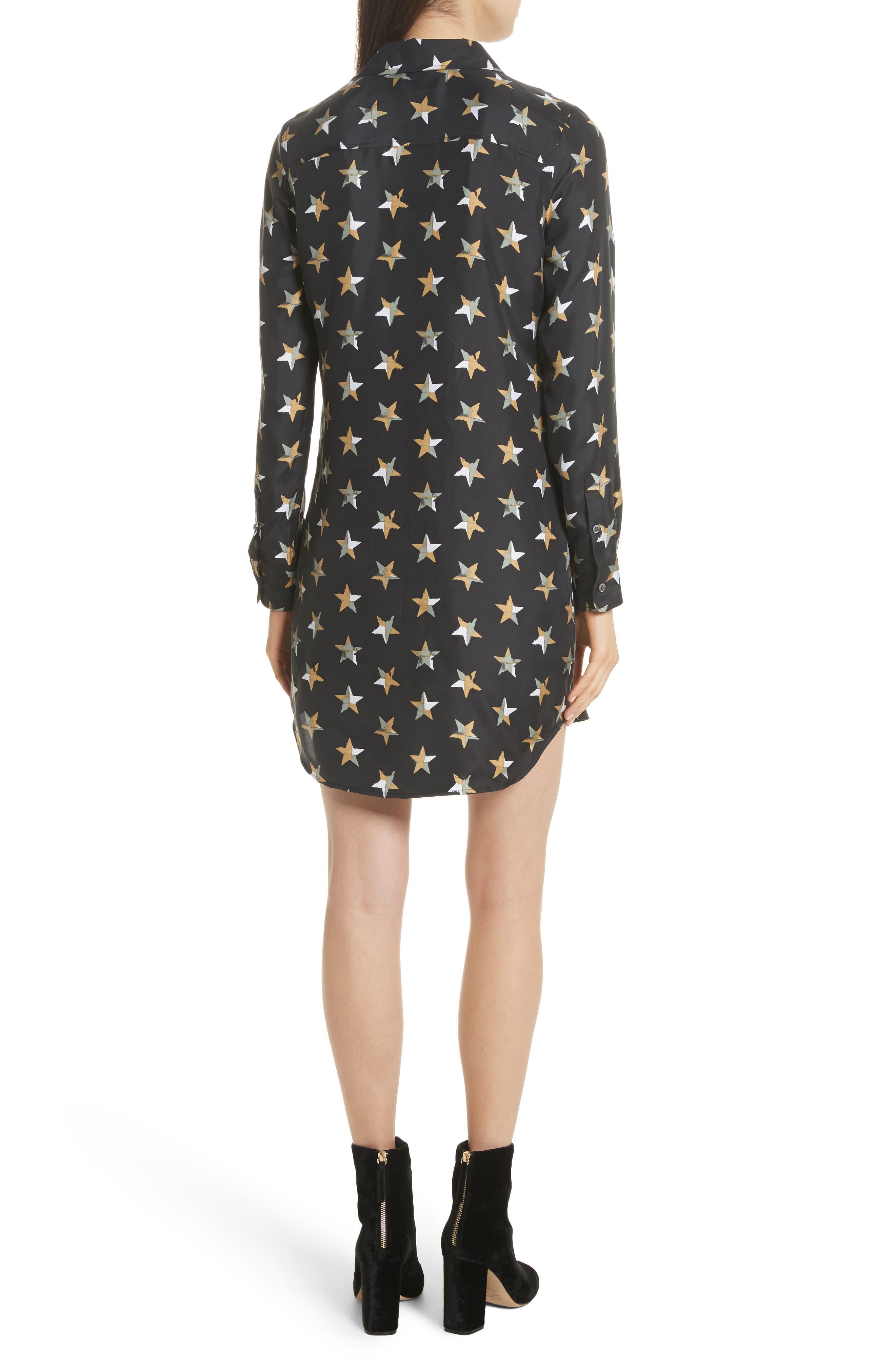 Brett Star Print Silk Shirtdress,                             Alternate thumbnail 2, color,                             True Black Multi