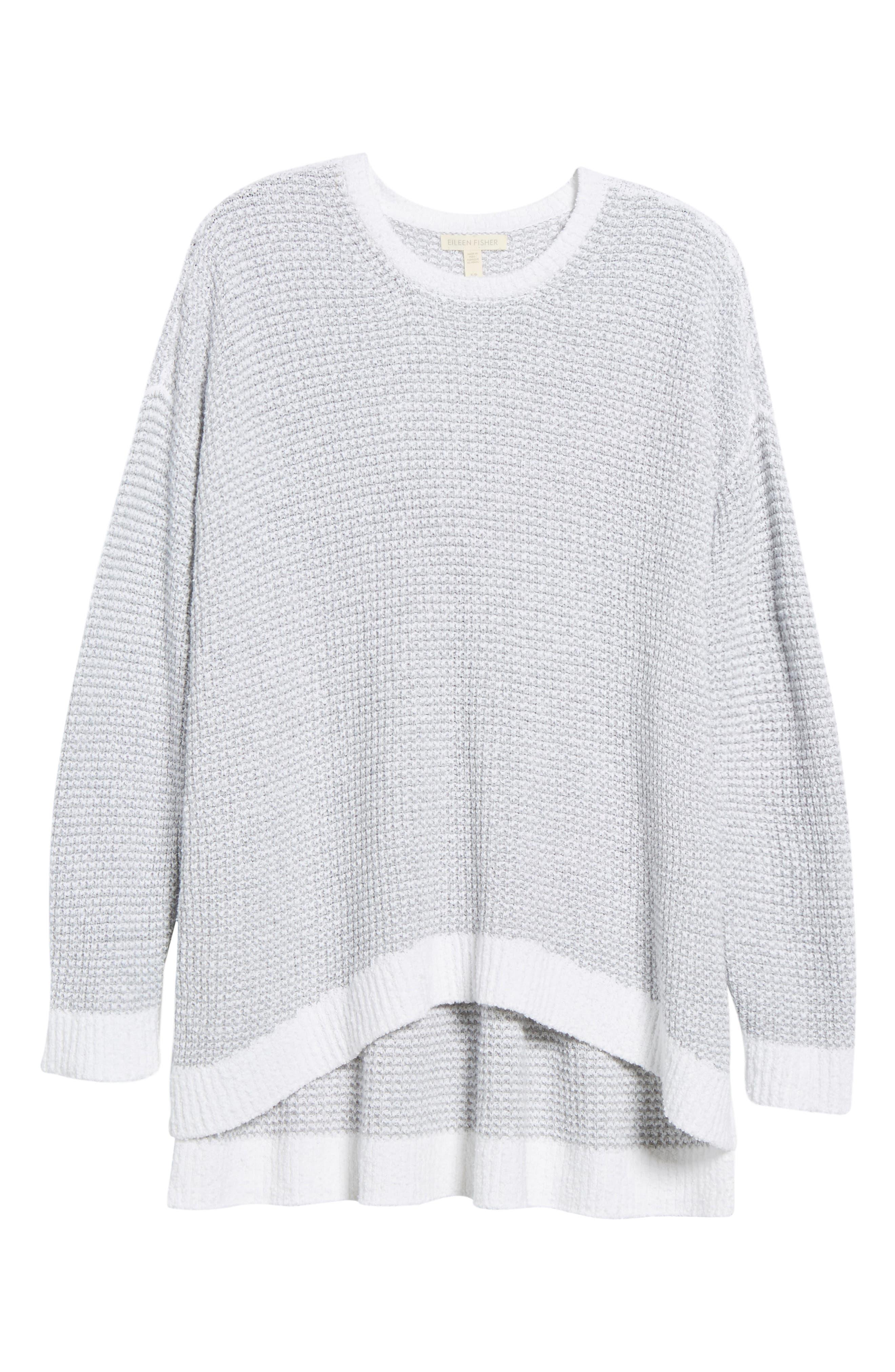 Waffled Organic Cotton Sweater,                             Alternate thumbnail 6, color,                             Dark Pearl