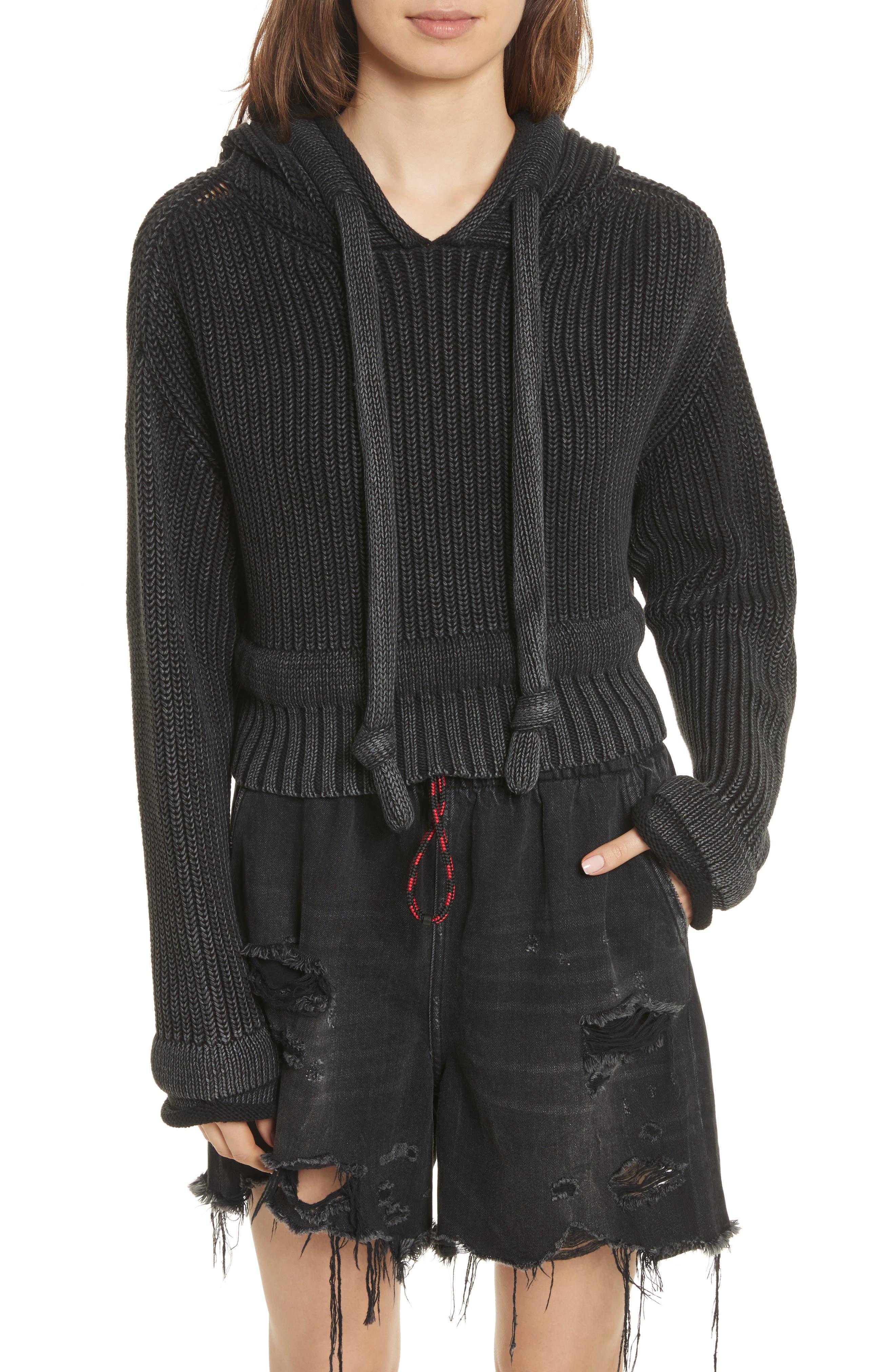 Chunky Knit Hoodie,                         Main,                         color, Black Acid Wash