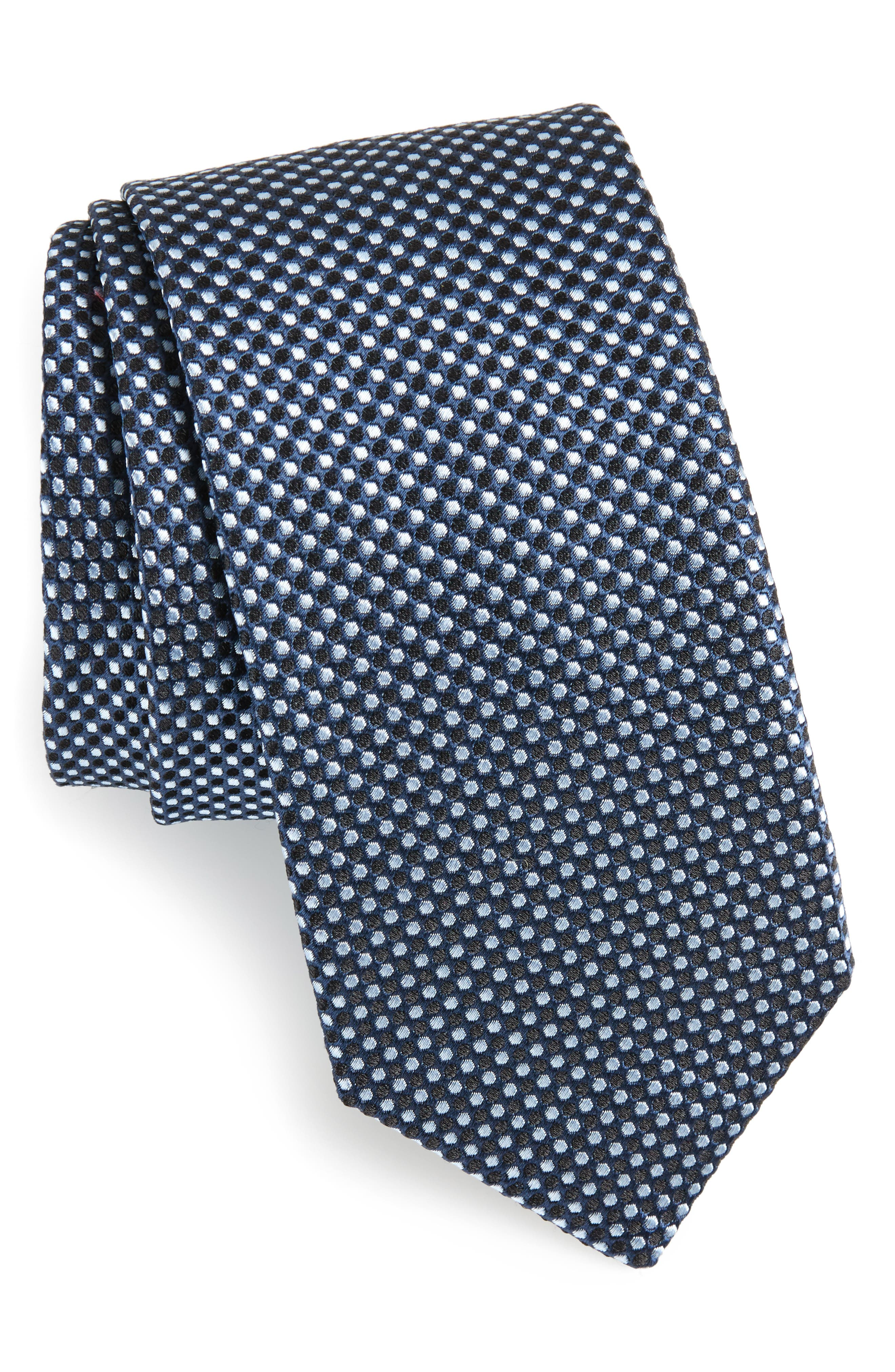Geometric Neat Silk Tie,                             Main thumbnail 1, color,                             Navy