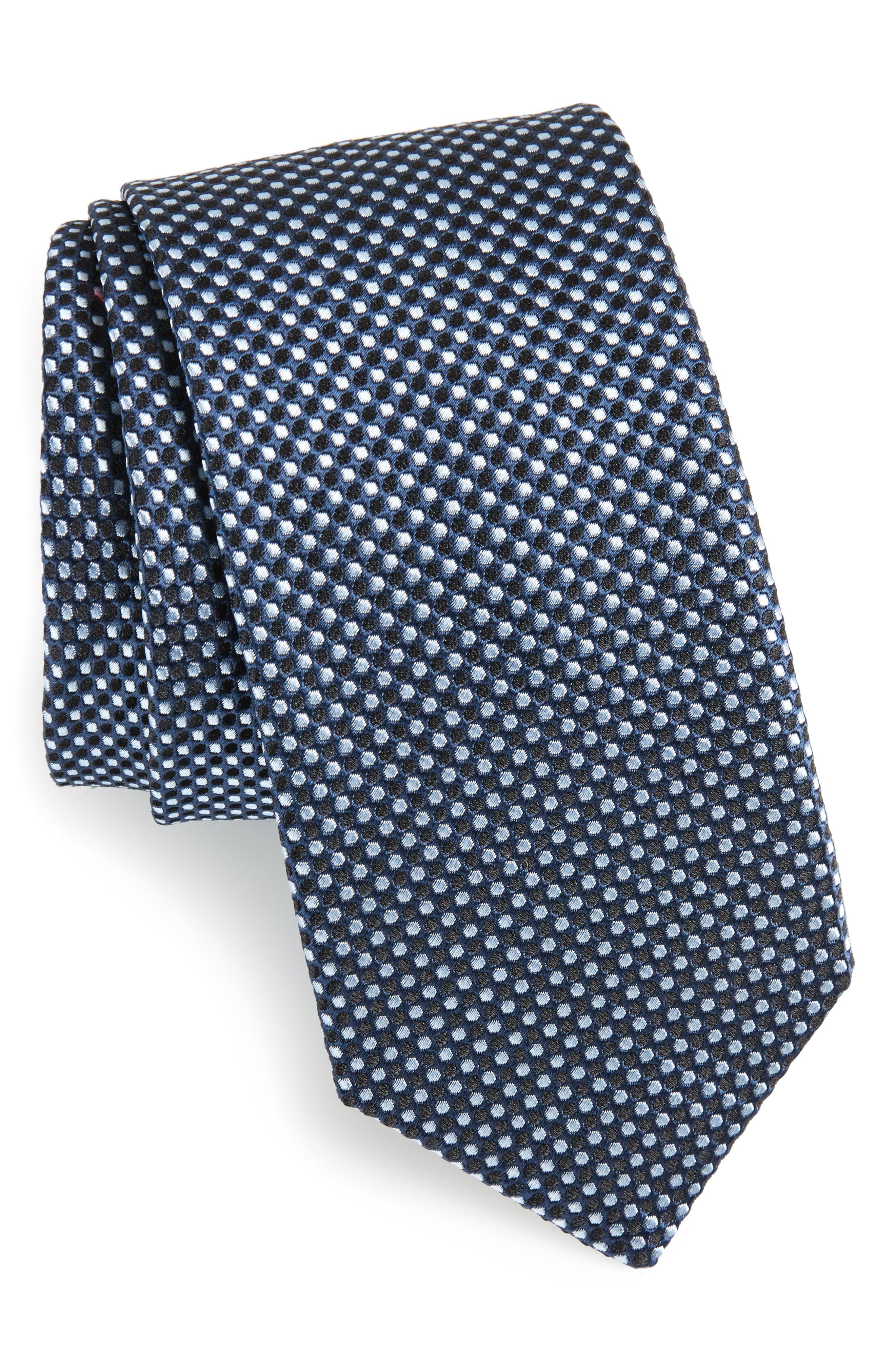 Geometric Neat Silk Tie,                         Main,                         color, Navy