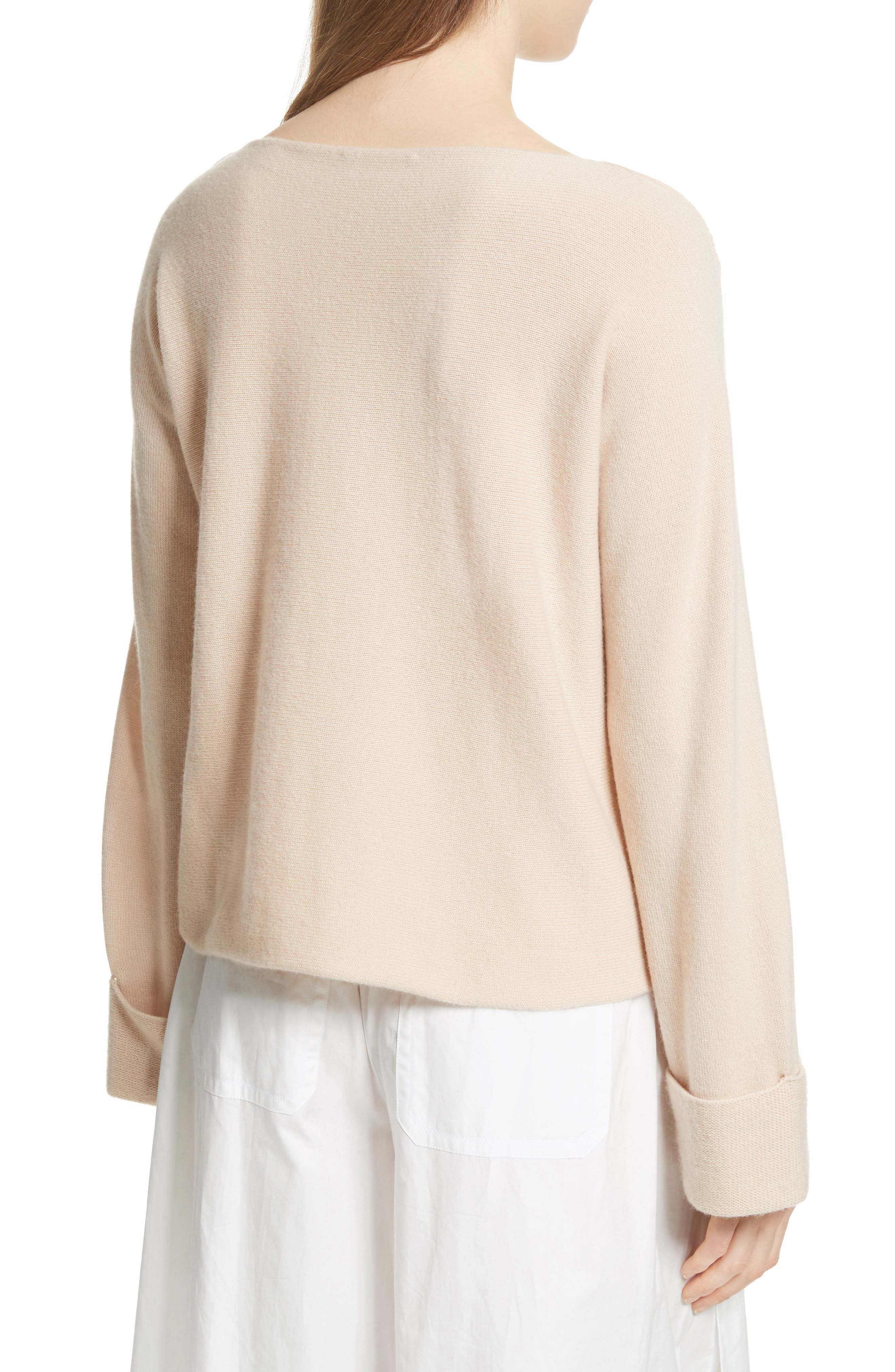 Cuffed Sleeve Wool & Cashmere Sweater,                             Alternate thumbnail 2, color,                             Praline