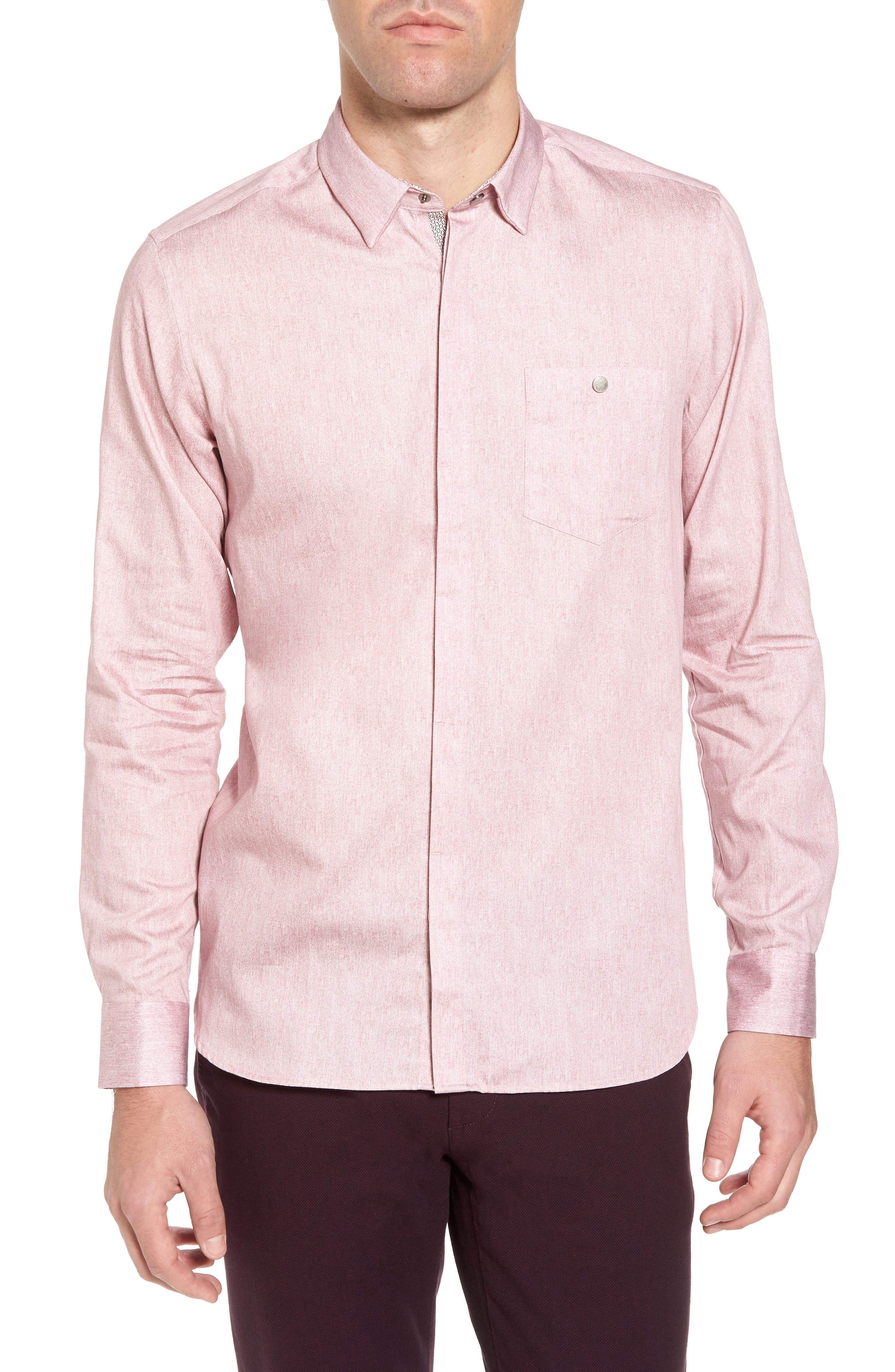 Alternate Image 1 Selected - Ted Baker London Lili Slim Fit Herringbone Sport Shirt