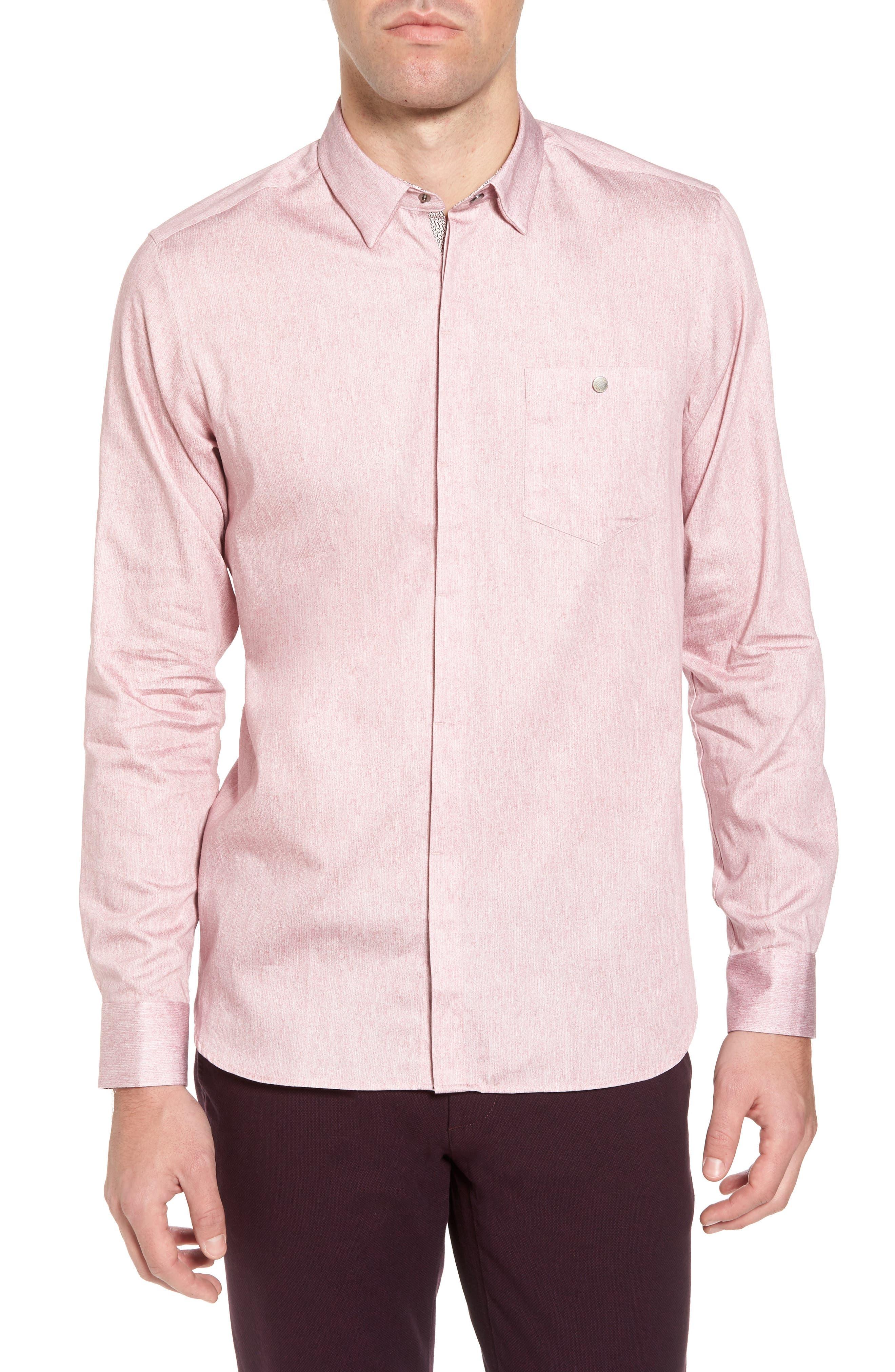 Lili Slim Fit Herringbone Sport Shirt,                         Main,                         color, Pink