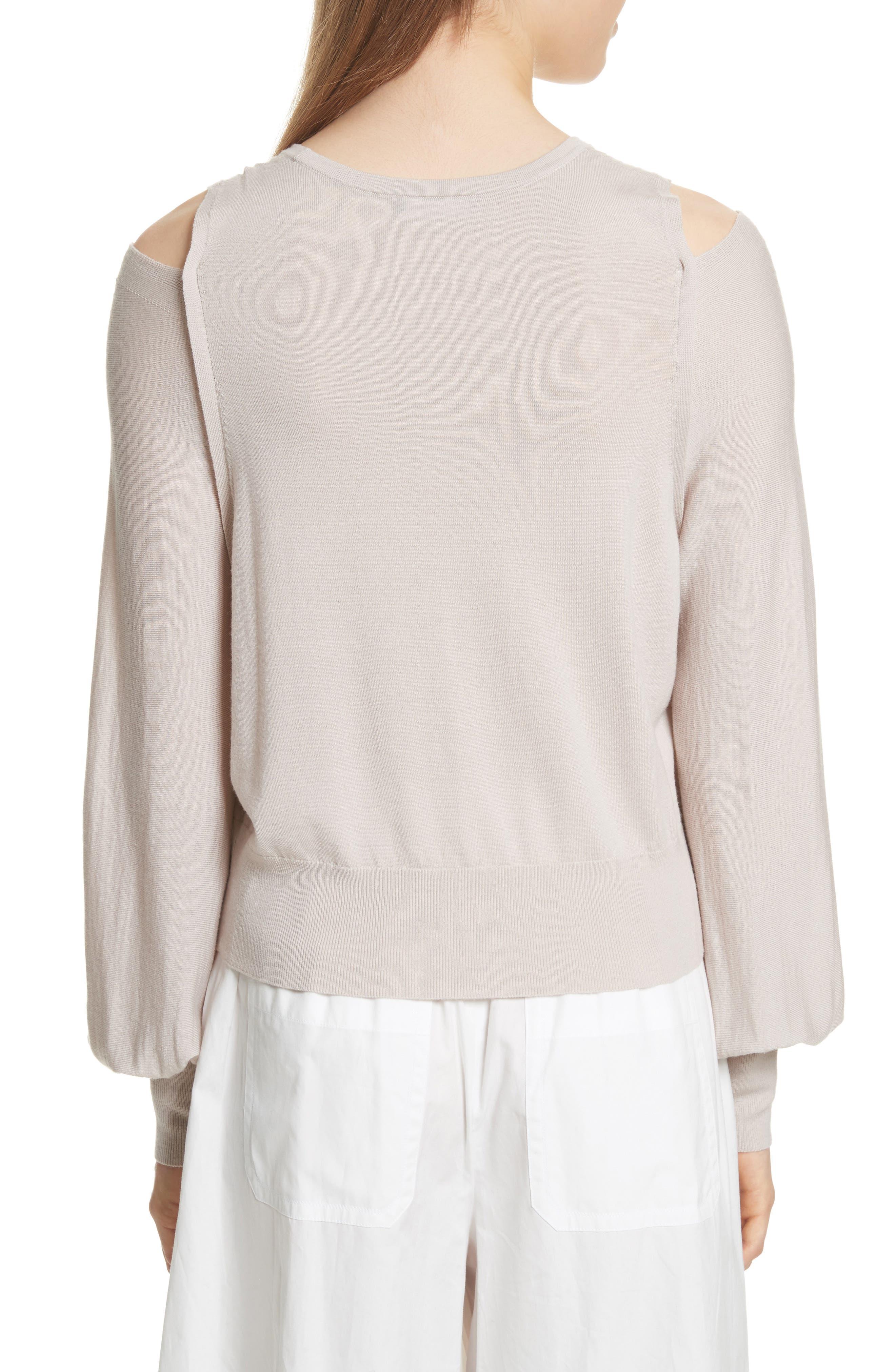 Wool Cold Shoulder Sweater,                             Alternate thumbnail 2, color,                             Sandstone