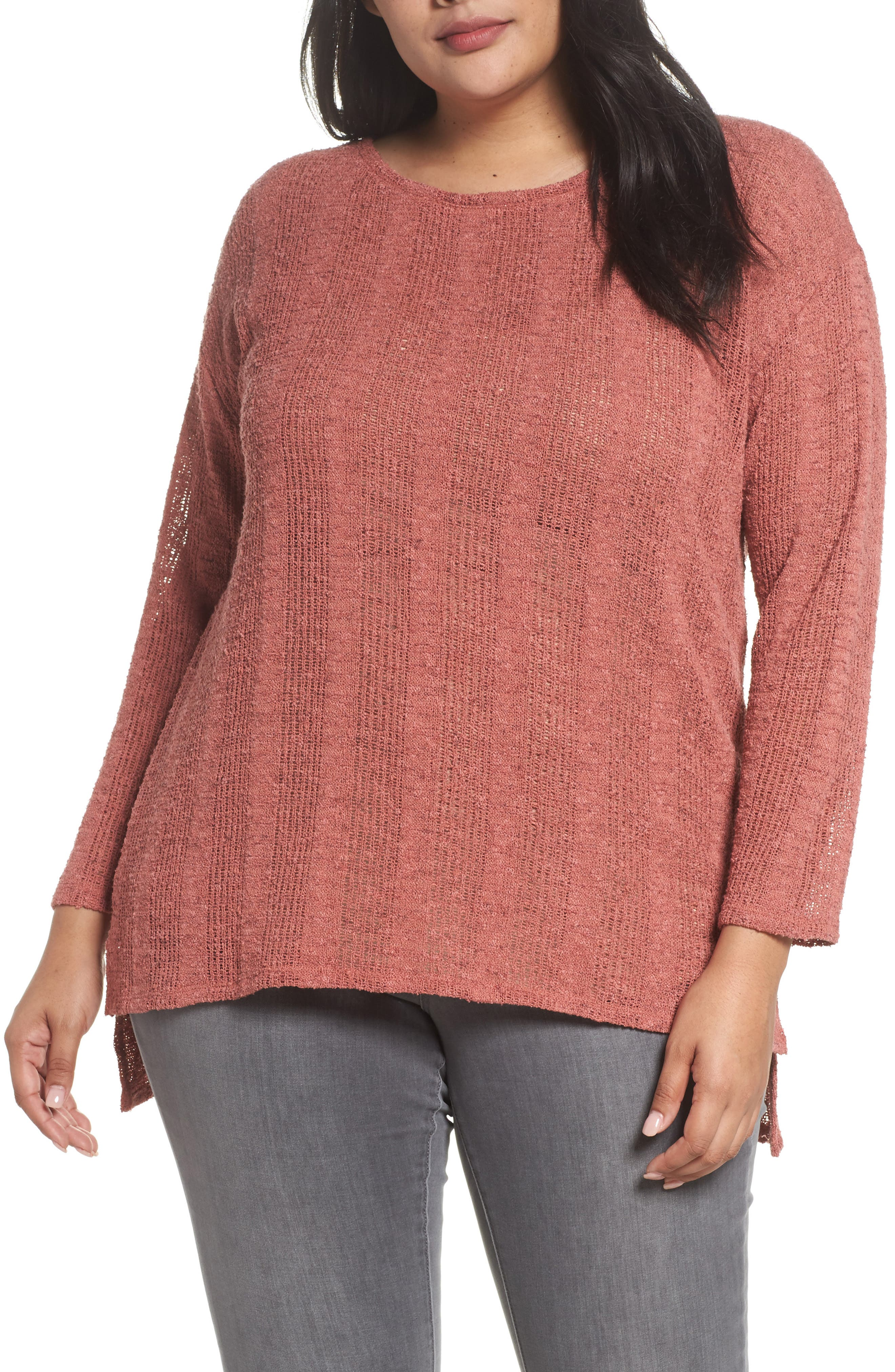Drop Needle Sweater,                         Main,                         color, Earth Pink