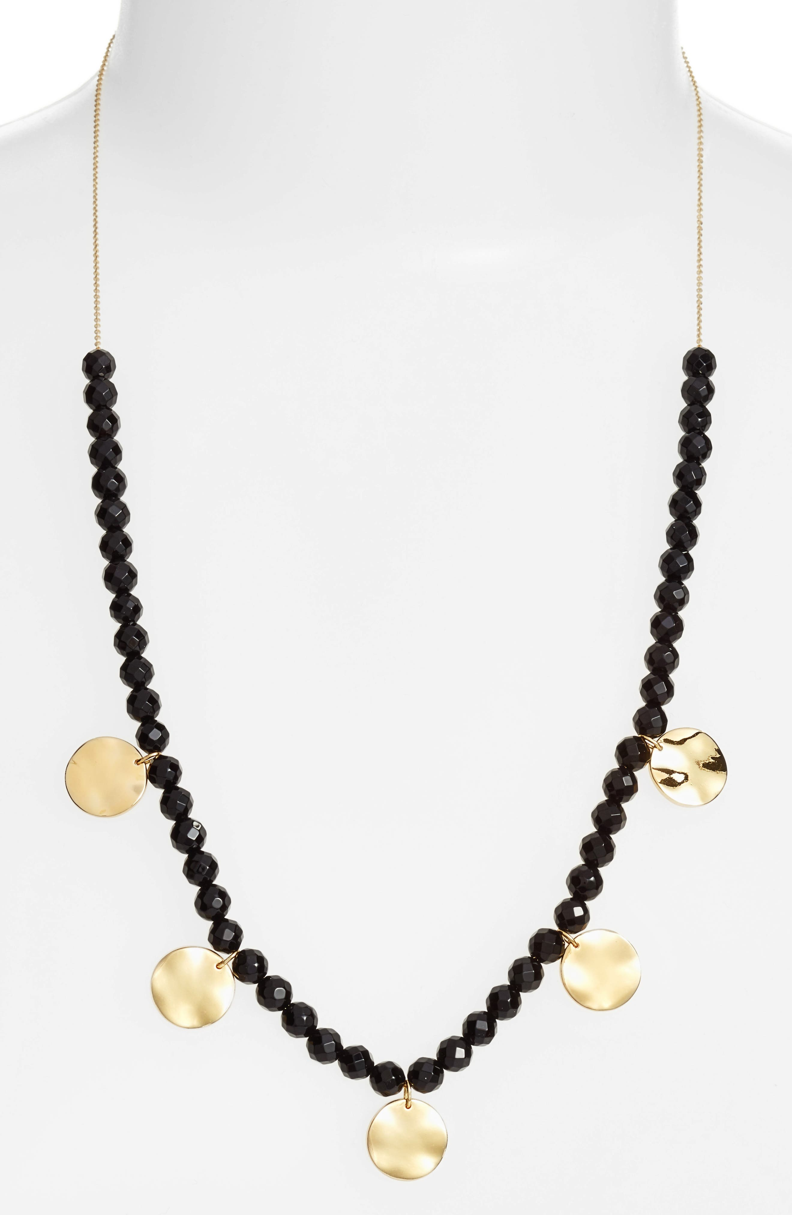 Adjustable Necklace,                         Main,                         color, Black Onyx/ Gold