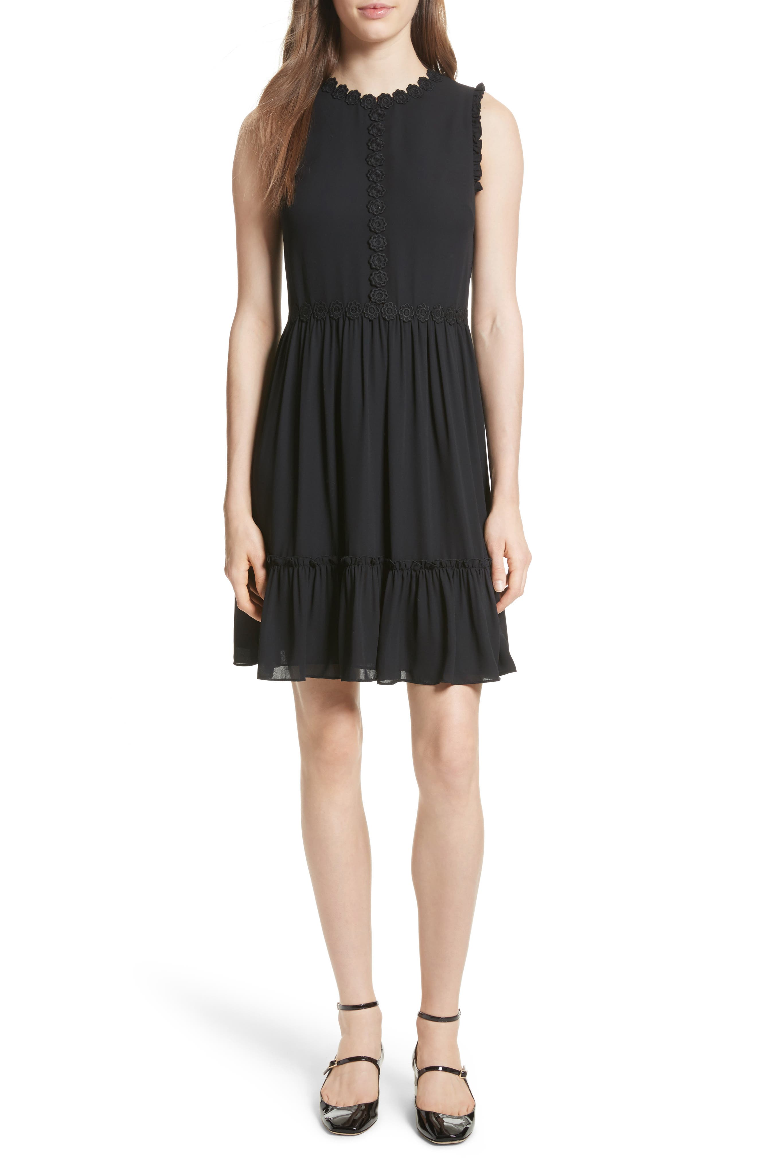 floral trim fit & flare dress,                         Main,                         color, Black