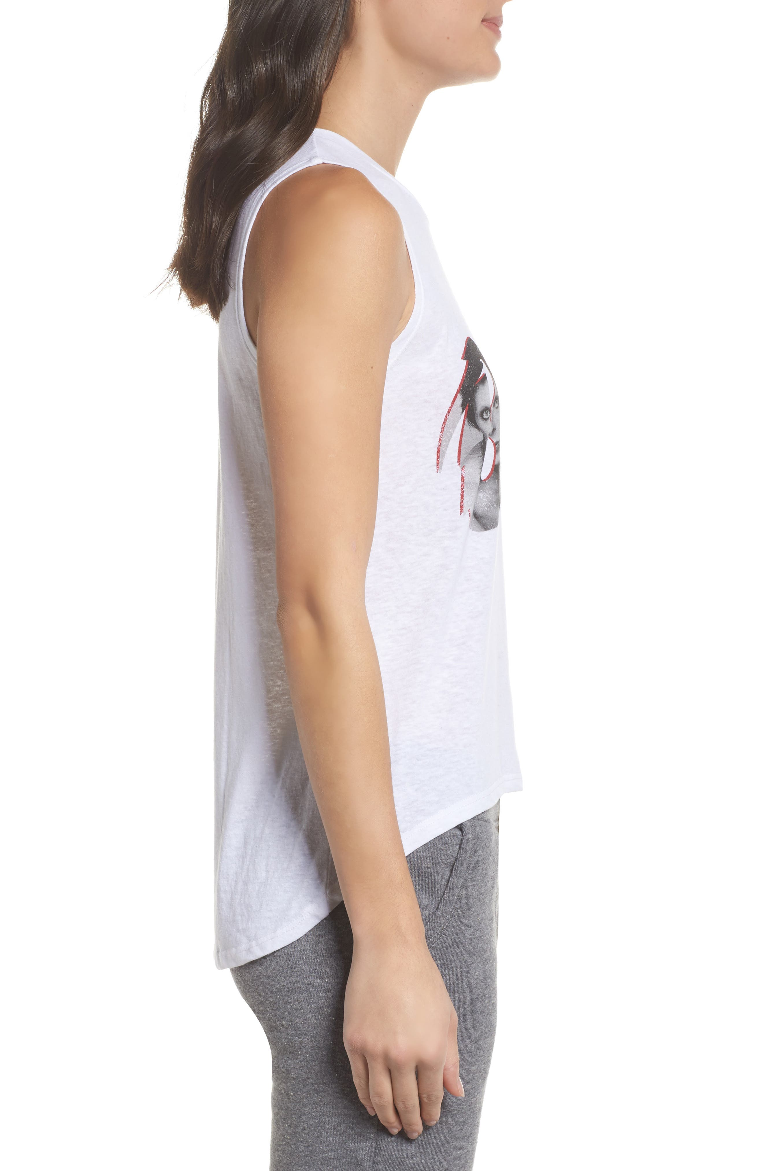 David Bowie High/Low Muscle Tank,                             Alternate thumbnail 3, color,                             White
