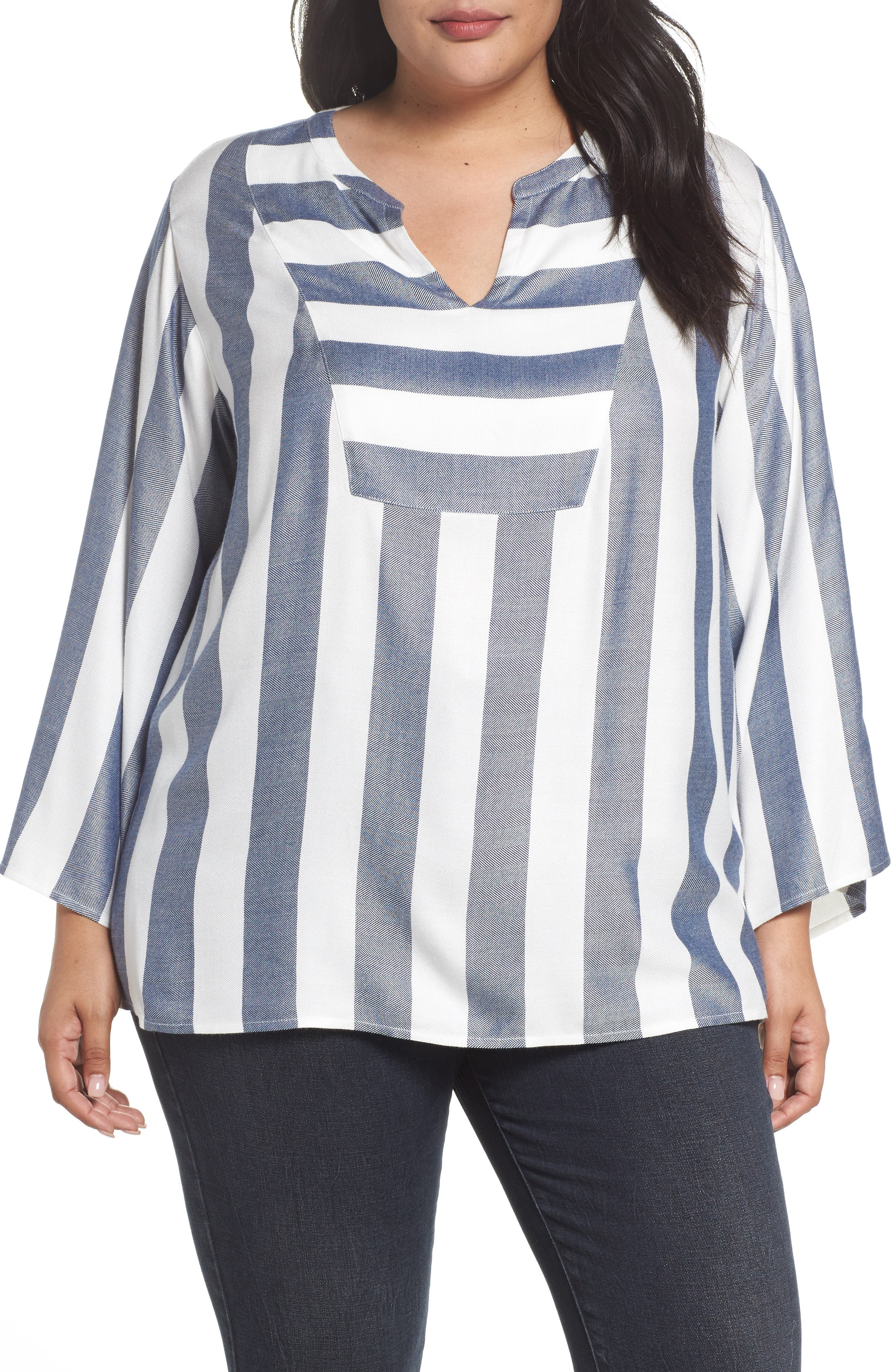 Main Image - Two by Vince Camuto Bell Sleeve Stripe Top (Plus Size)