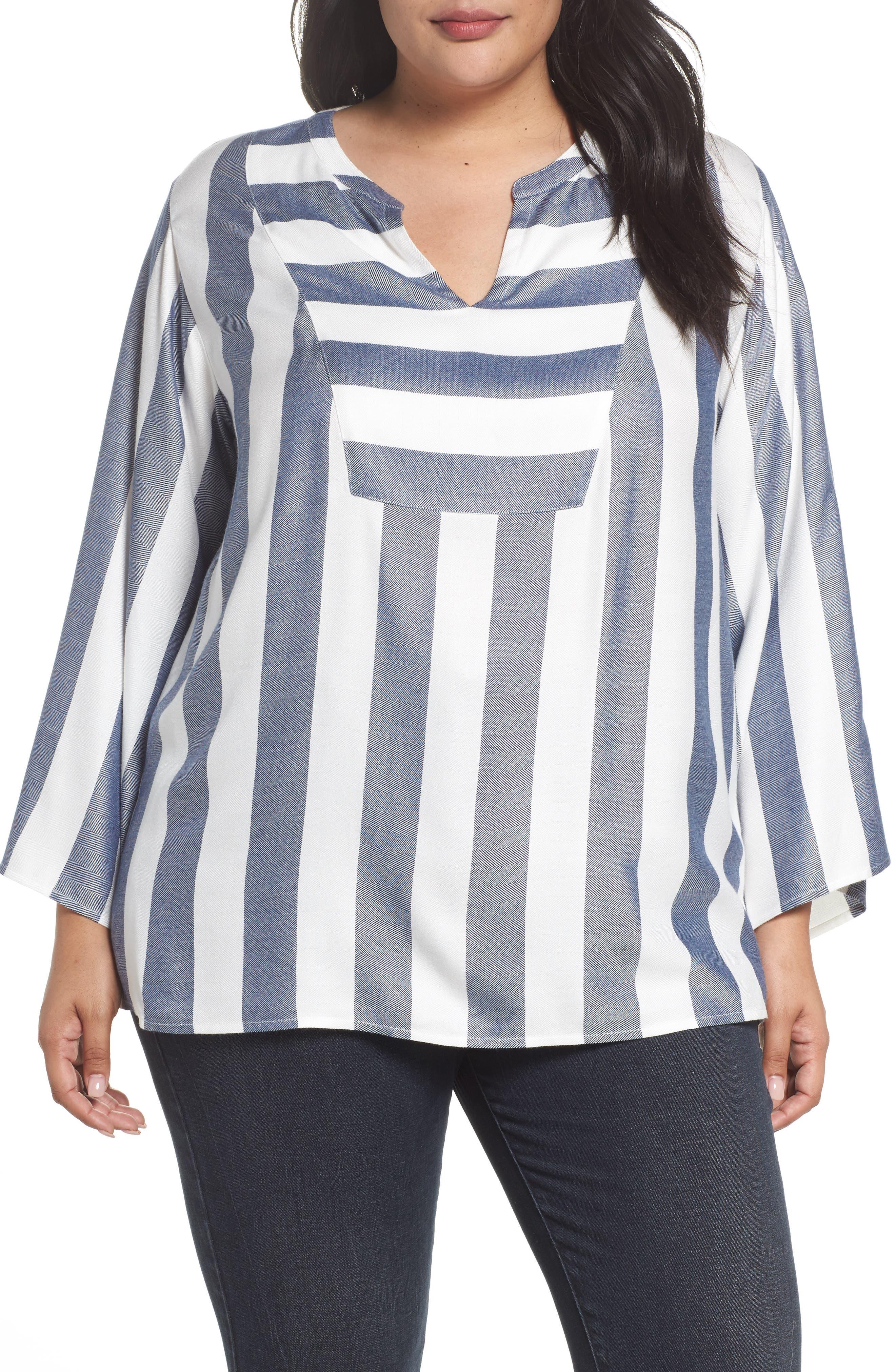 Bell Sleeve Stripe Top,                         Main,                         color, Twilight Sky