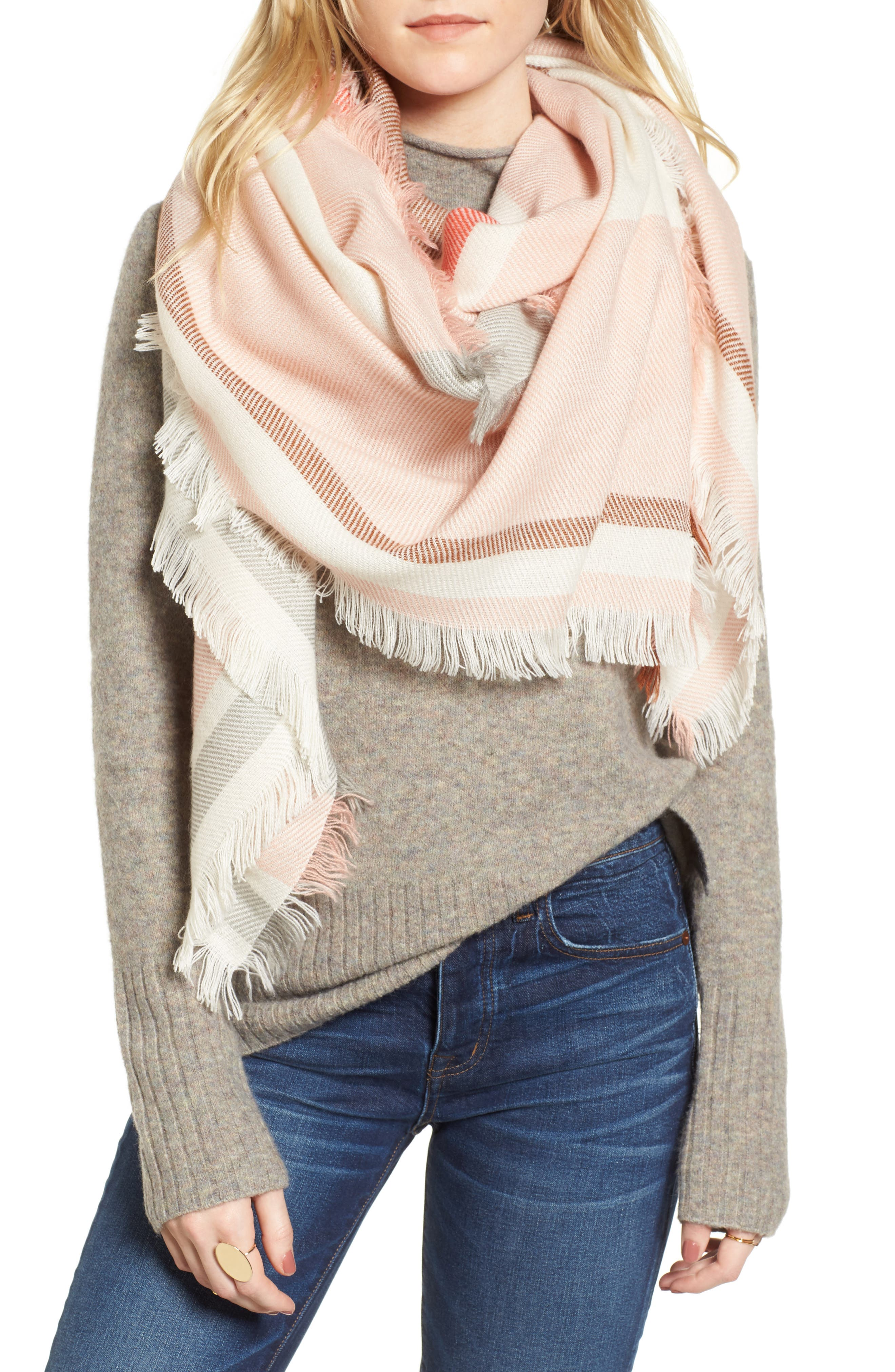 Colorblock Blanket Scarf,                             Main thumbnail 1, color,                             Cream/ Pink/ Bison