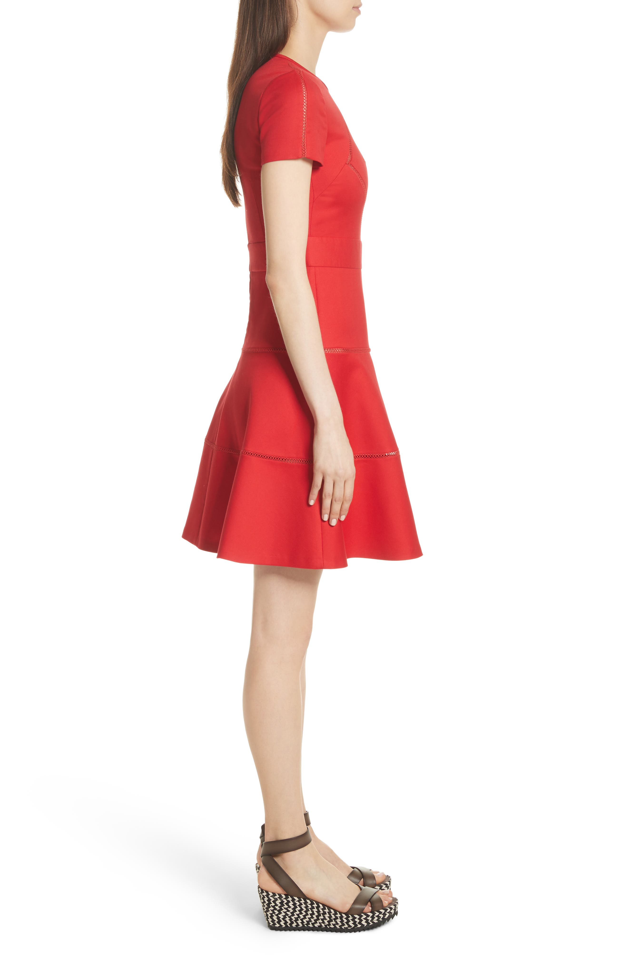 Open Stripe Fit & Flare Dress,                             Alternate thumbnail 3, color,                             Red