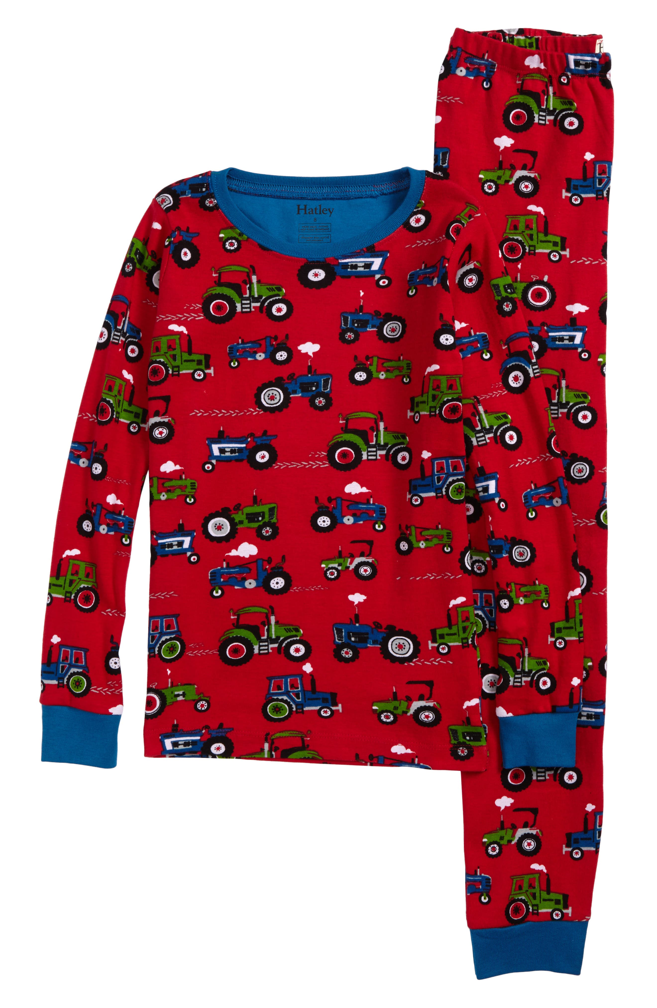 Organic Cotton Fitted Two-Piece Pajamas,                         Main,                         color, Farm Tractors